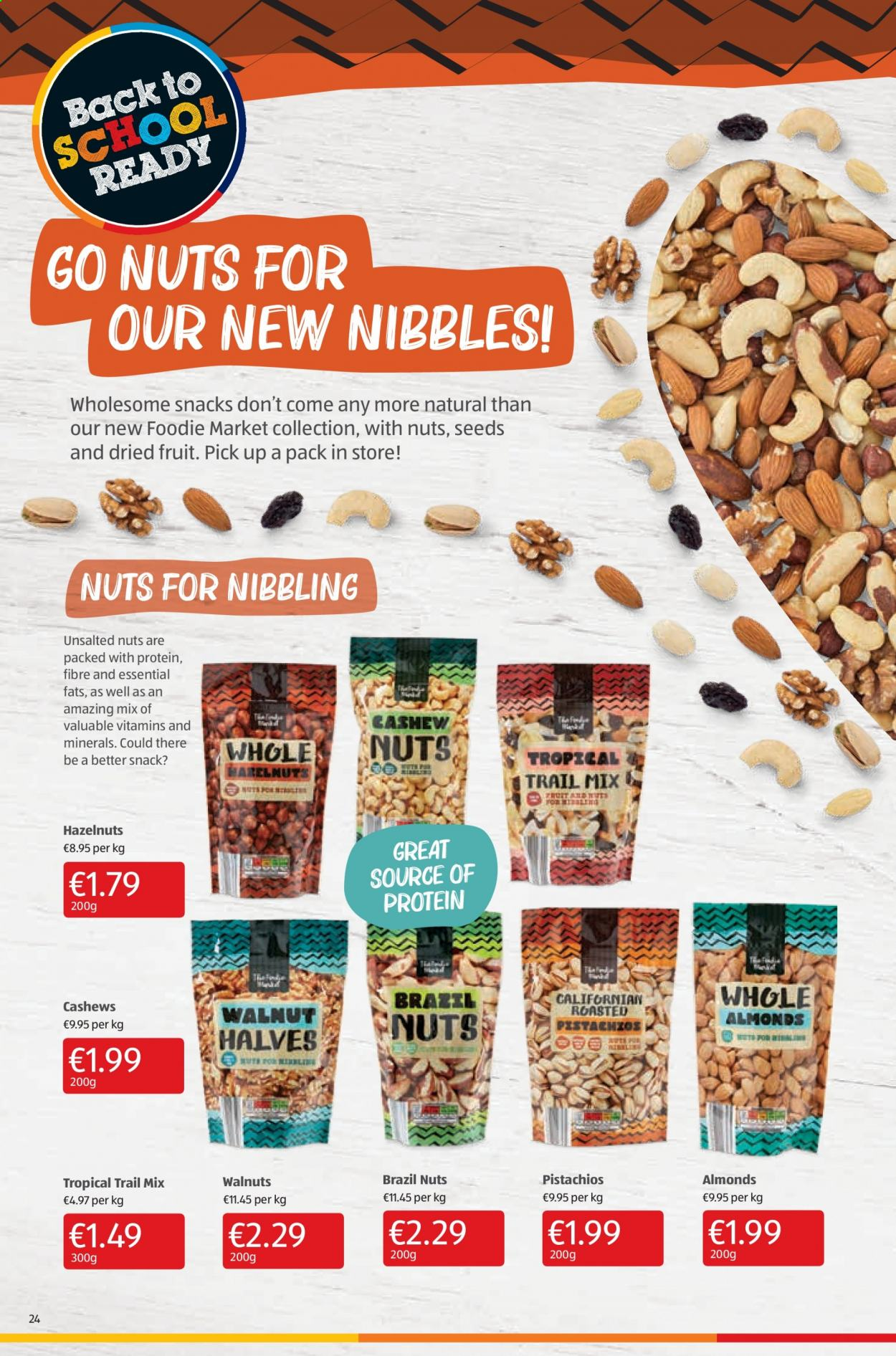 Aldi offer  - 10.9.2020 - 13.9.2020 - Sales products - almonds, cashews, walnuts, hazelnuts, protein, snack, nuts, fruit, dried fruit. Page 24.