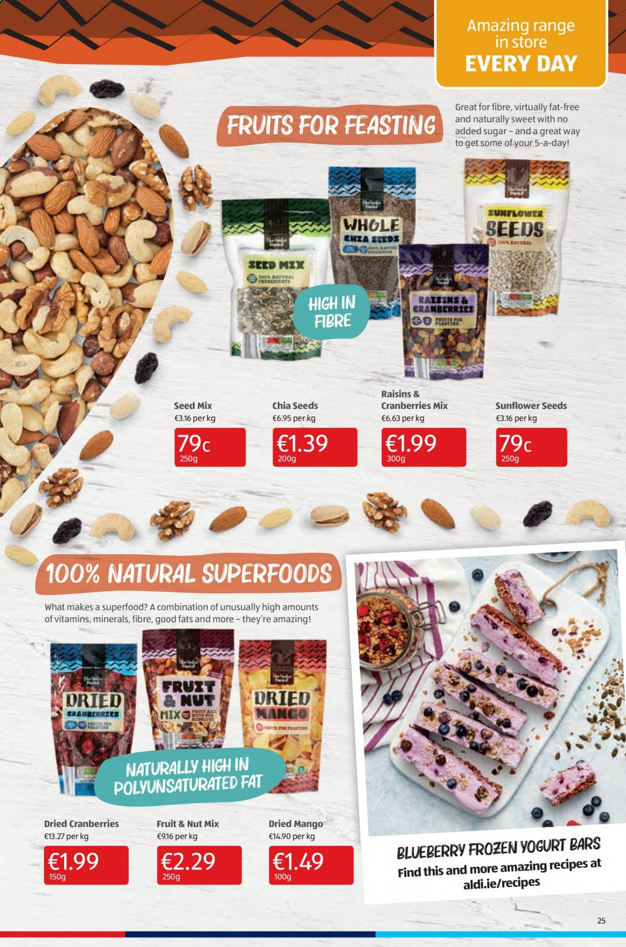 Aldi offer  - 10.9.2020 - 13.9.2020 - Sales products - cranberries, frozen, mango, raisins, sugar, yogurt, chia seeds, seed, sweet, fruit, sunflower. Page 25.
