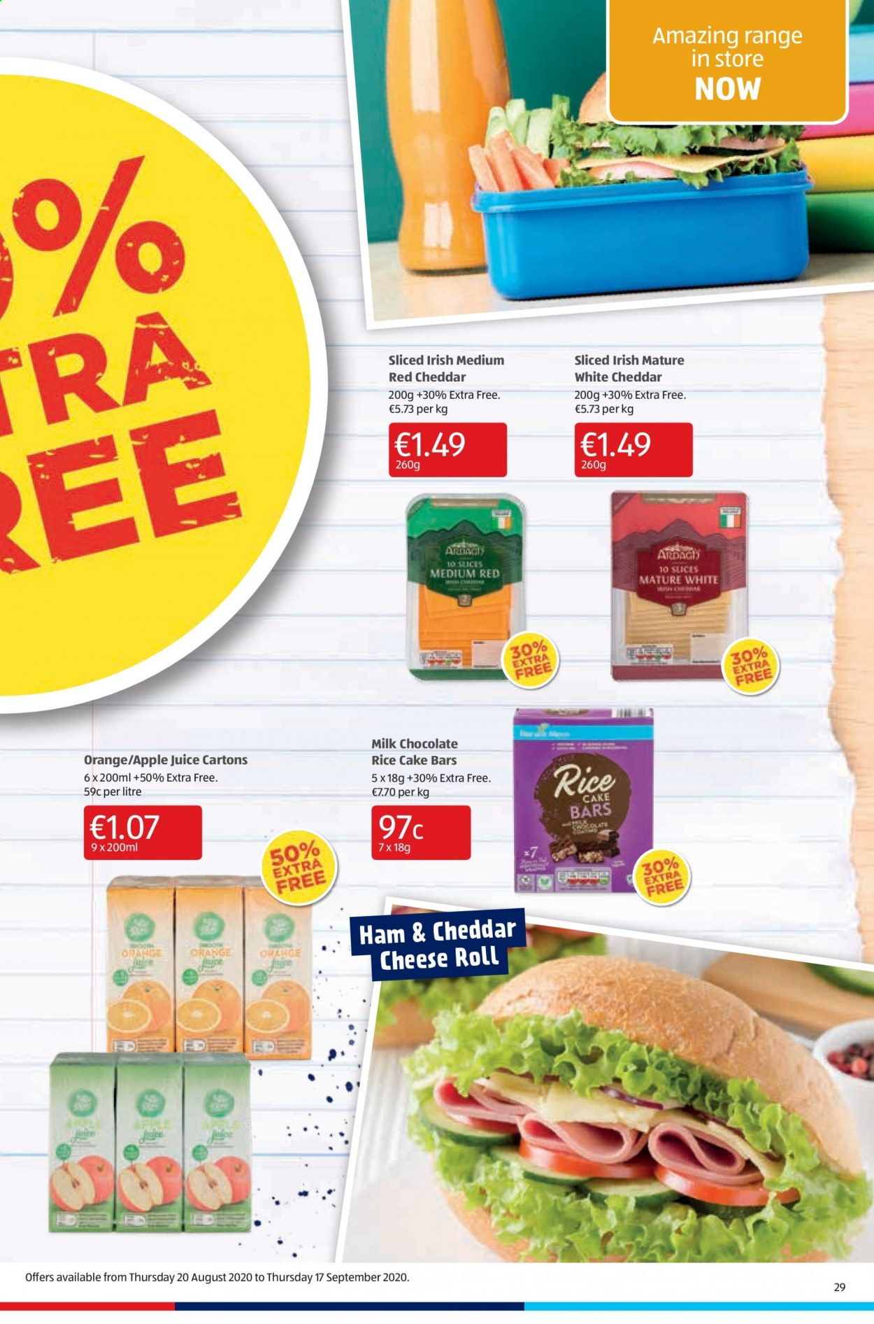 Aldi offer  - 10.9.2020 - 13.9.2020 - Sales products - apple juice, milk chocolate, rice, ham, cheddar, chocolate, cheese, juice, cake, orange. Page 29.