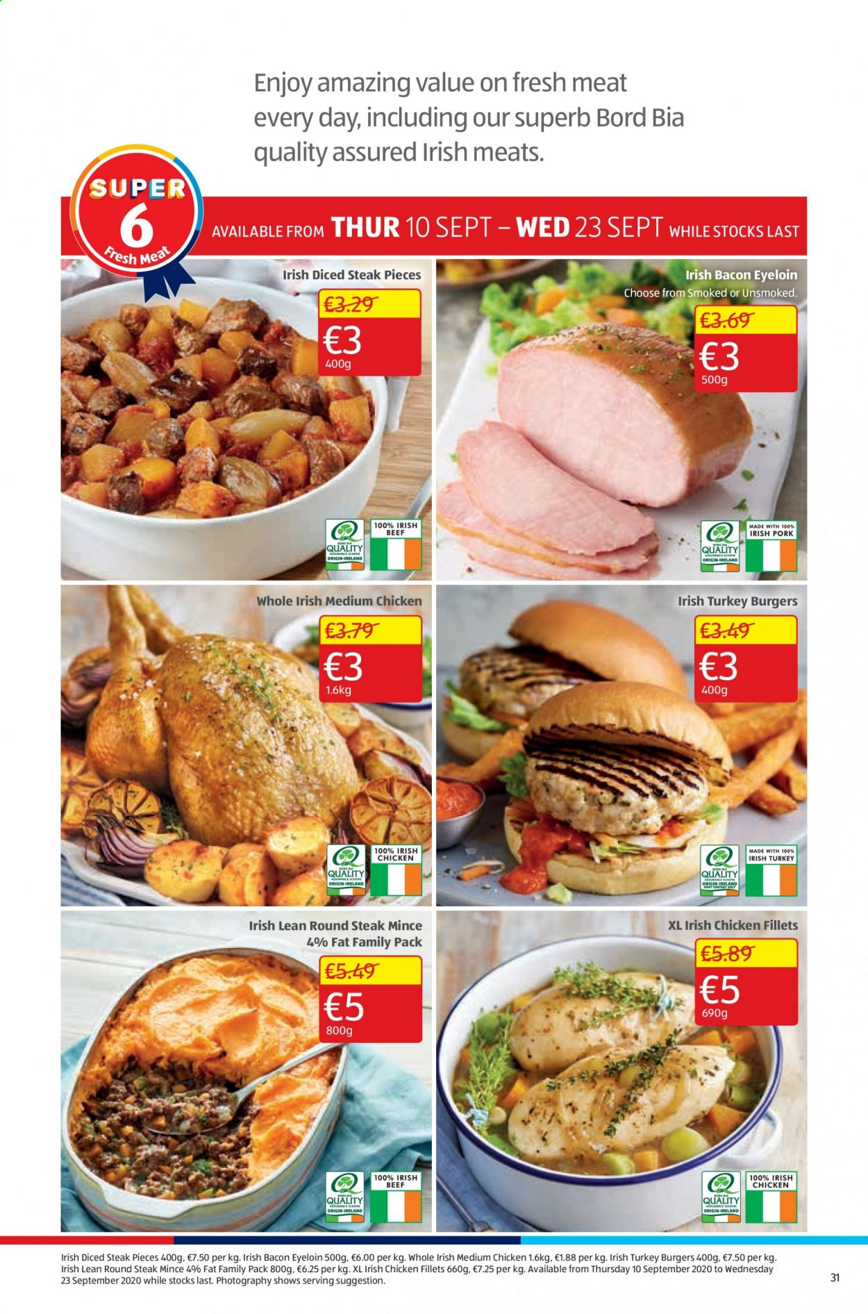 Aldi offer  - 10.9.2020 - 13.9.2020 - Sales products - bacon, turkey, chicken, steak, family pack, meat, burger. Page 31.