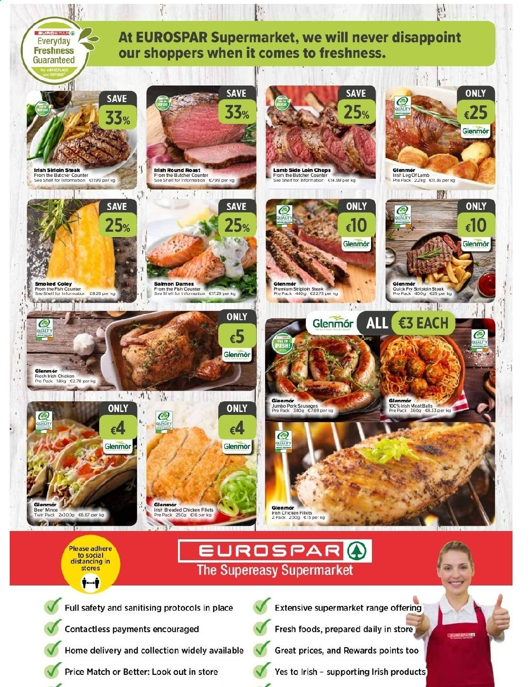 EUROSPAR offer  - 10.9.2020 - 30.9.2020 - Sales products - lamb meat, salmon, chicken, meatballs, steak, fish, lamb, roast. Page 2.