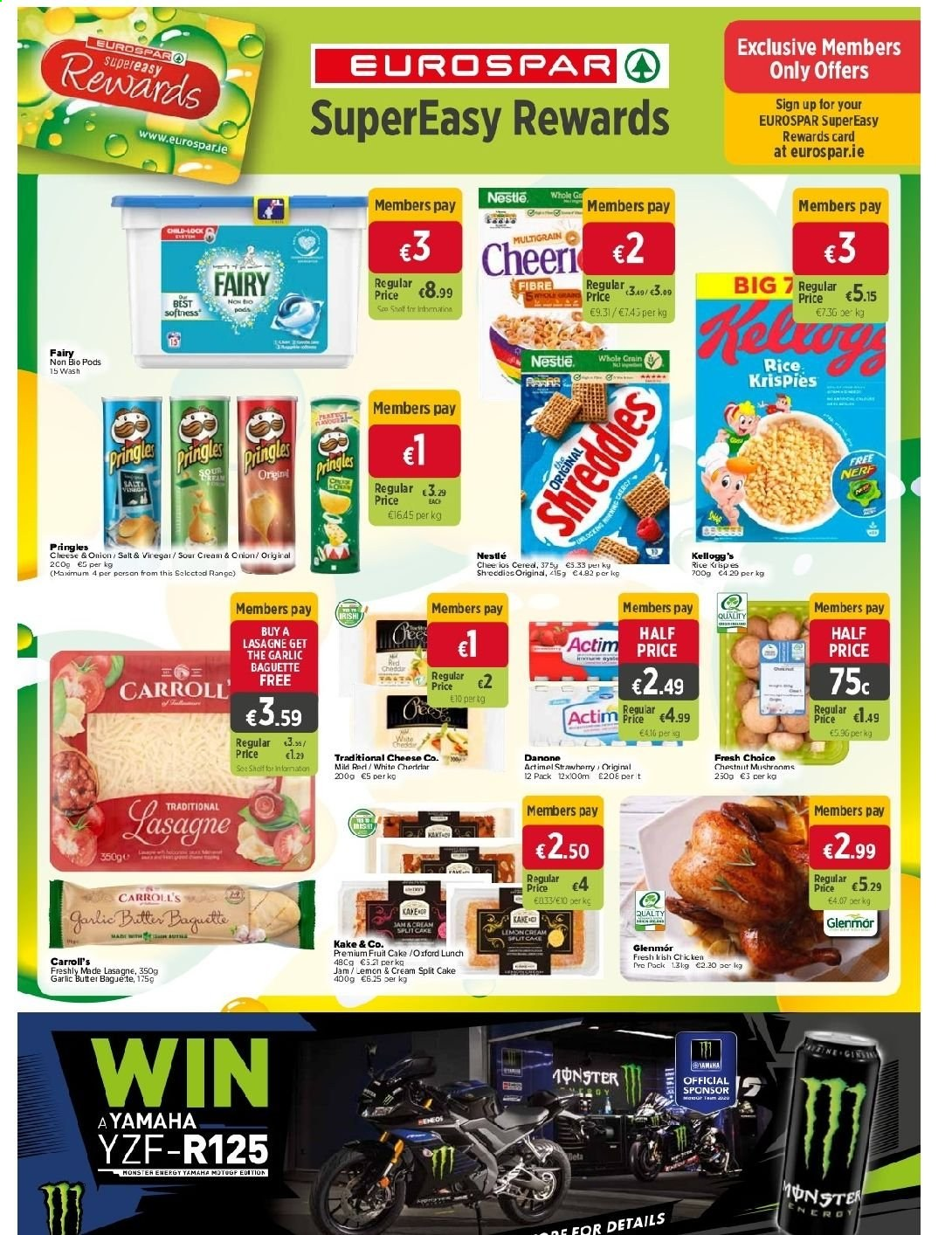 EUROSPAR offer  - 10.9.2020 - 30.9.2020 - Sales products - baguette, butter, cream, garlic, lasagne, mushrooms, nerf, nestlé, rice, sour cream, jam, pringles, chestnuts, chicken, onion, cheese, cake, danone, salt, card, fruit, lemon. Page 8.