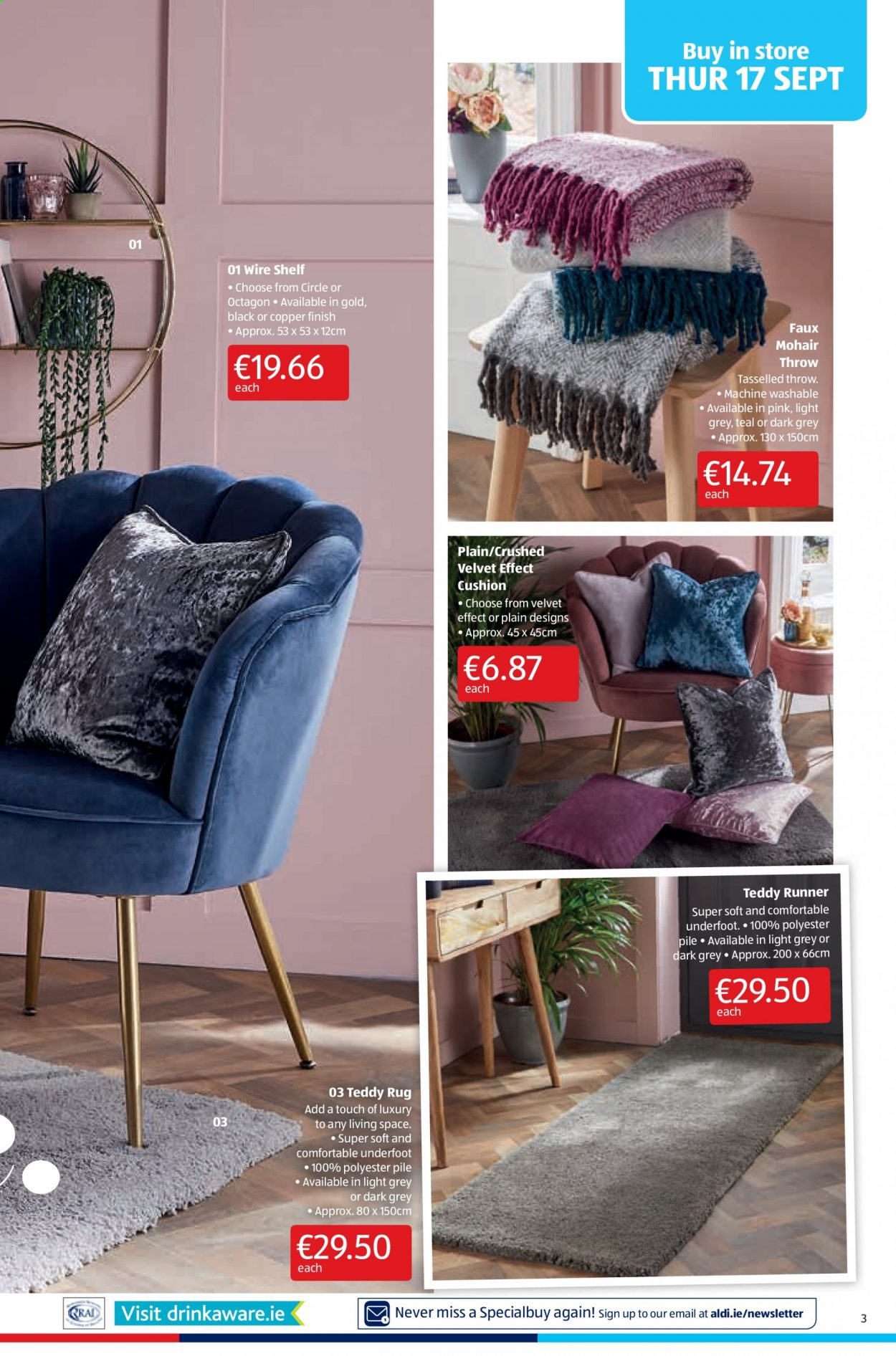 Aldi offer  - 17.9.2020 - 20.9.2020 - Sales products - cushion, rug, shelf, throw, machine. Page 3.