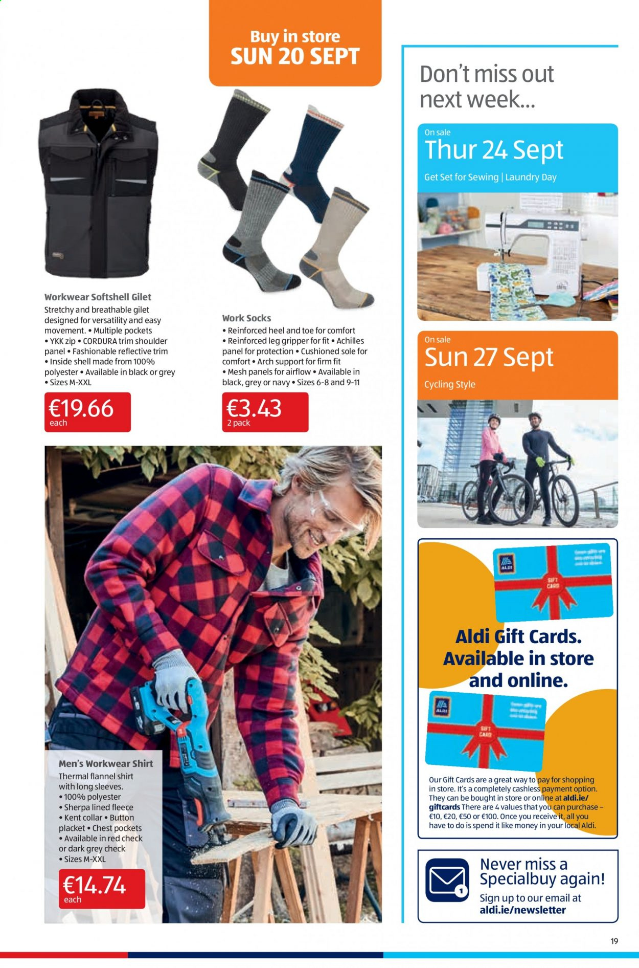 Aldi offer  - 17.9.2020 - 20.9.2020 - Sales products - flannel, flannel shirt, shell, sherpa, shirt, socks, sole, gripper, sewing. Page 19.