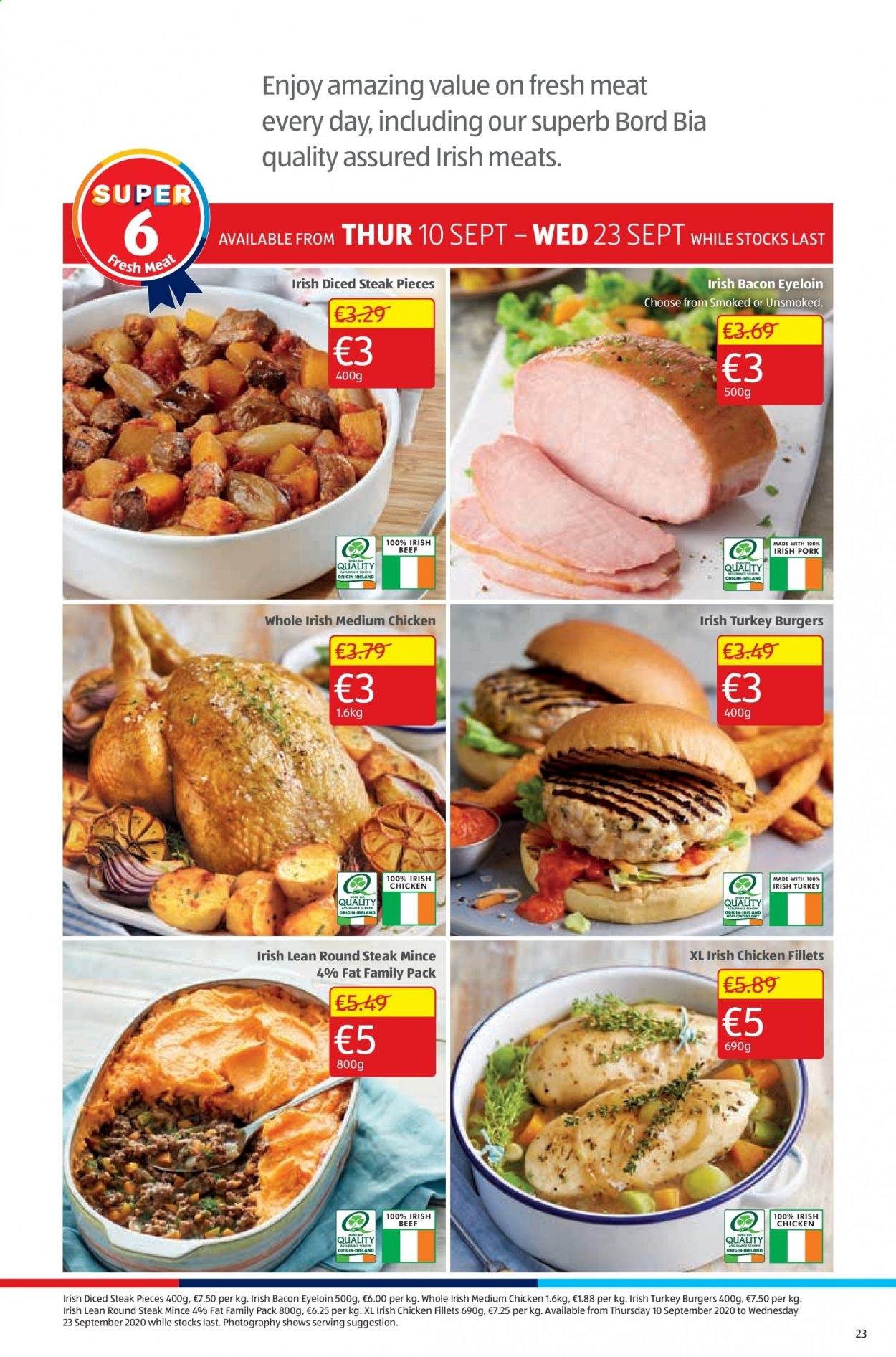 Aldi offer  - 17.9.2020 - 20.9.2020 - Sales products - bacon, turkey, chicken, steak, family pack, meat, burger. Page 23.