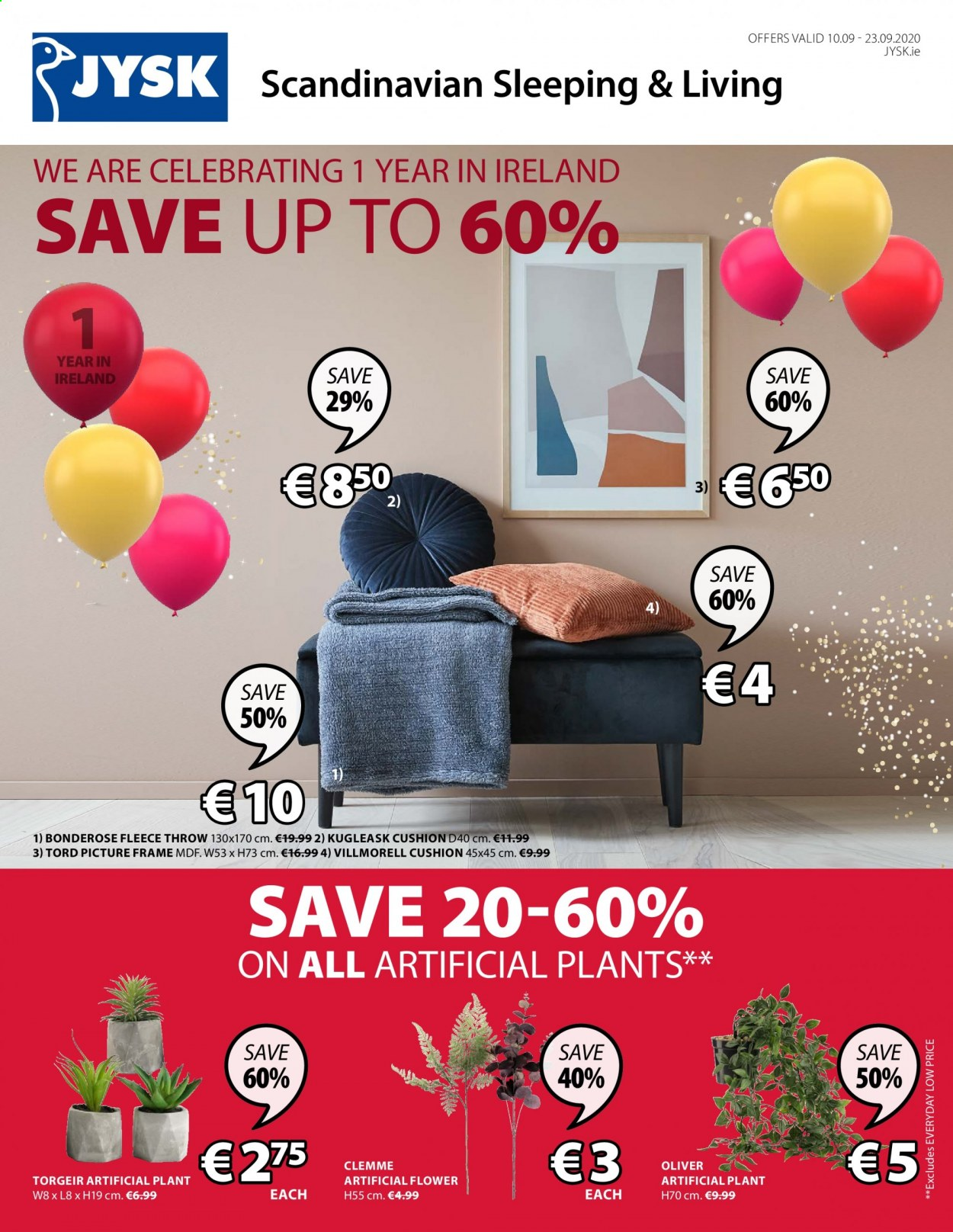 JYSK offer  - 10.9.2020 - 23.9.2020 - Sales products - cushion, frame, throw, picture frame. Page 1.