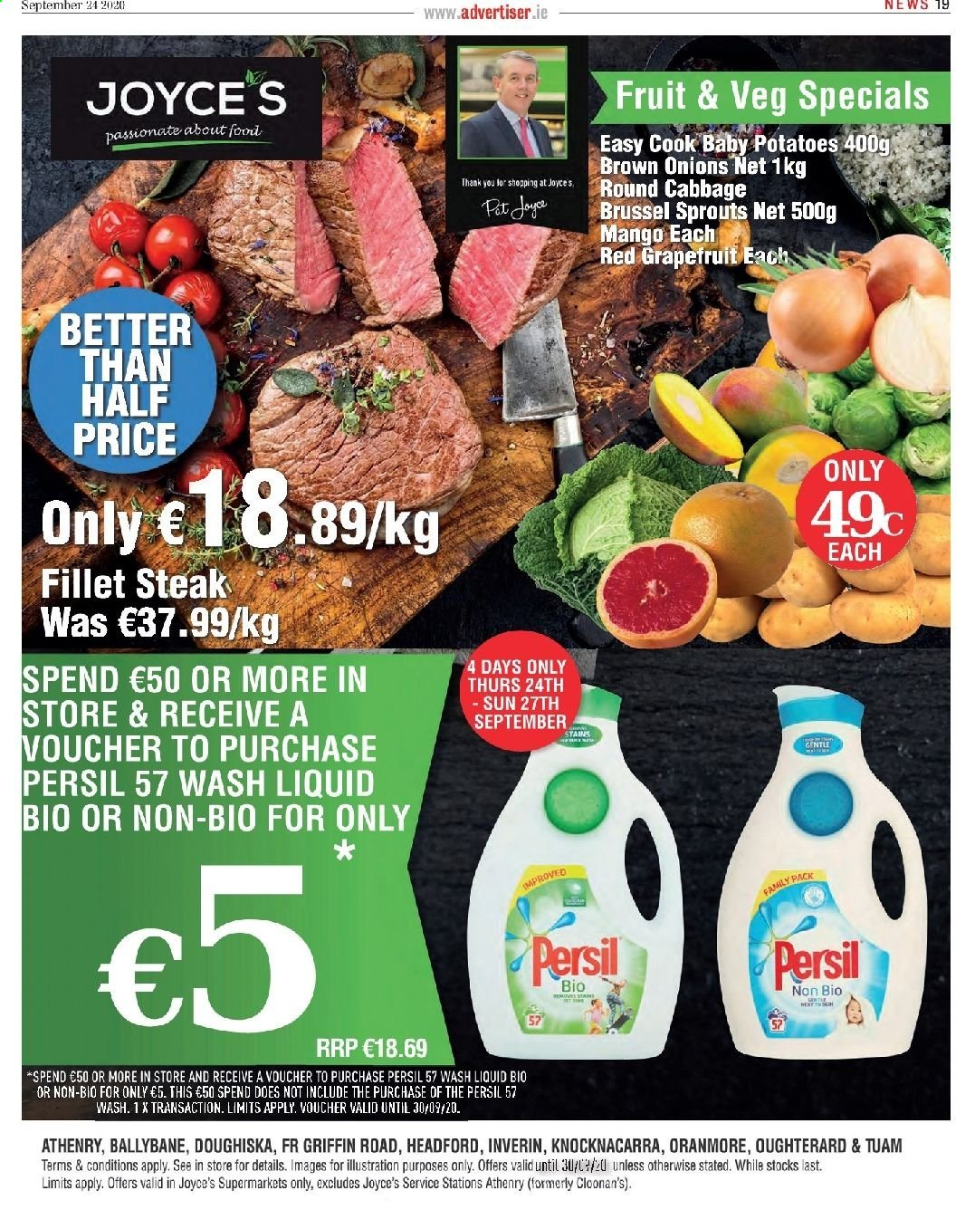 Joyce's offer  - 24.9.2020 - 30.9.2020 - Sales products - cabbage, mango, pot, potatoes, persil, onion, steak, family pack, fruit, liquid, onions. Page 1.