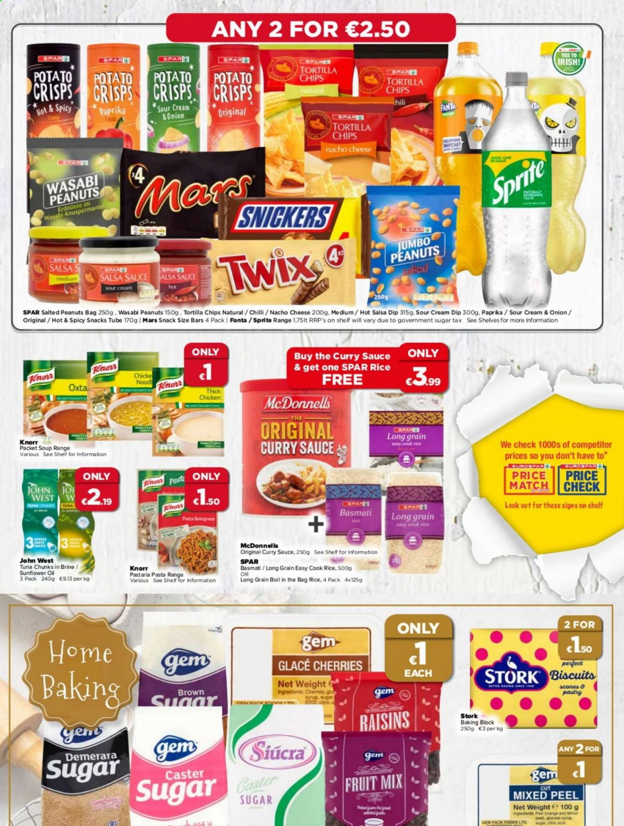 EUROSPAR offer  - 1.10.2020 - 21.10.2020 - Sales products - bag, basmati rice, biscuits, brown sugar, cream, demerara sugar, raisins, rice, shelves, sour cream, sprite, sugar, sunflower oil, tortilla chips, tuna, wasabi, potato crisps, cherries, chicken, peanuts, onion, chips, cheese, soup, snack, salsa, acid, fanta, pasta, knorr, sauce, snickers, twix, mars, orange, fruit mix, curry, fruit, sunflower, lemon, syrup. Page 5.