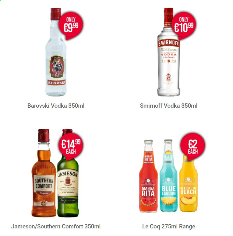 Carry Out offer  - Sales products - Smirnoff, vodka, Jameson. Page 1.