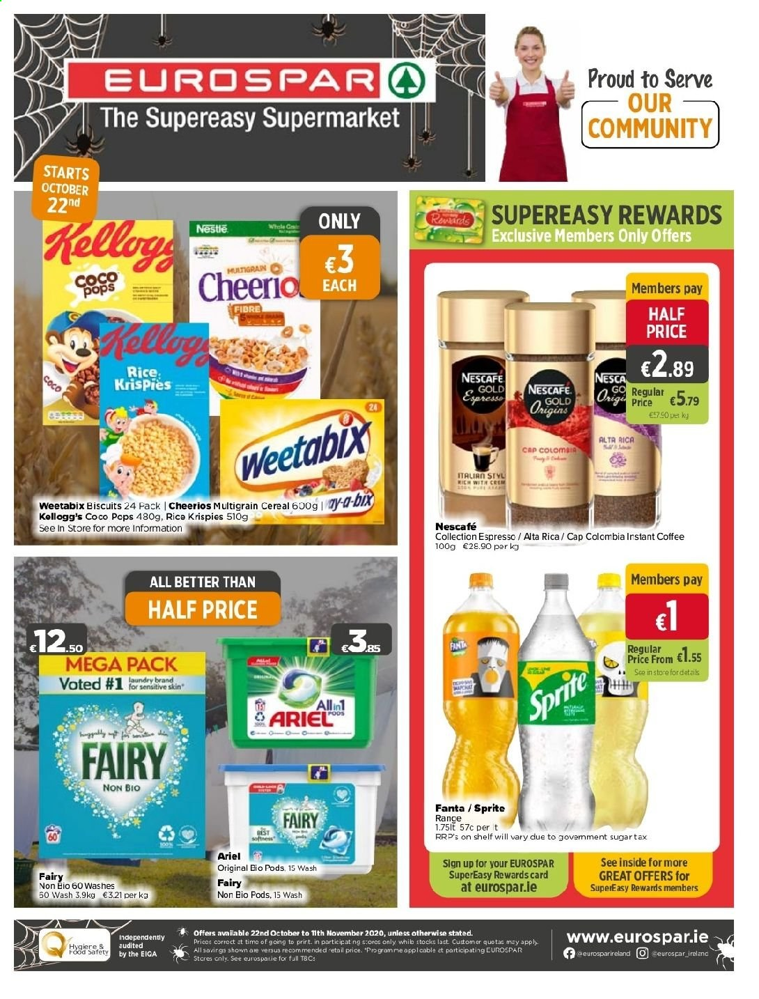 EUROSPAR offer  - 22.10.2020 - 11.11.2020 - Sales products - biscuits, cap, cereals, nestlé, rice, sprite, instant coffee, cheerios, fanta, cereal, ariel, coco pops, card, nescafé. Page 1.