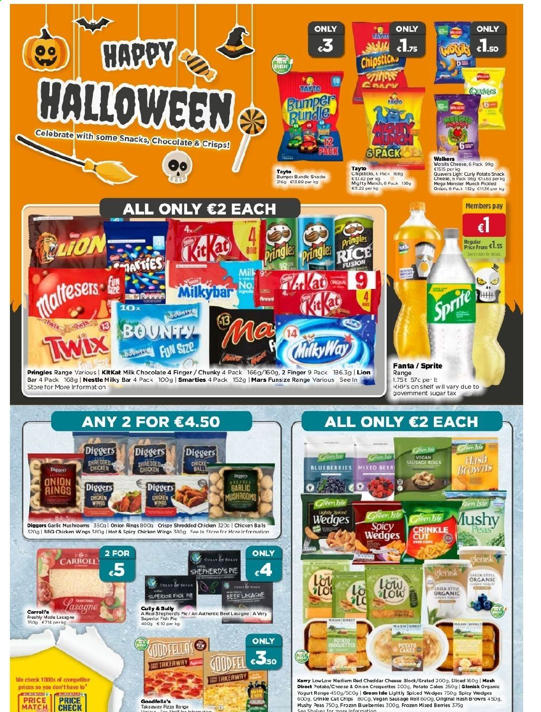 EUROSPAR offer  - 22.10.2020 - 11.11.2020 - Sales products - blueberries, bundle, frozen, garlic, lasagne, milk chocolate, mushrooms, nestlé, ring, sausage, sausage roll, sprite, sugar, vegan, yogurt, hash browns, pringles, cheddar, chicken, peas, onion rings, onion, organic, chicken wings, chips, chocolate, cheese, pie, snack, fanta, rod, monster, bar, twix, bounty, mars, smarties, rice bar, wings, kitkat, finger, rolls, fish. Page 4.