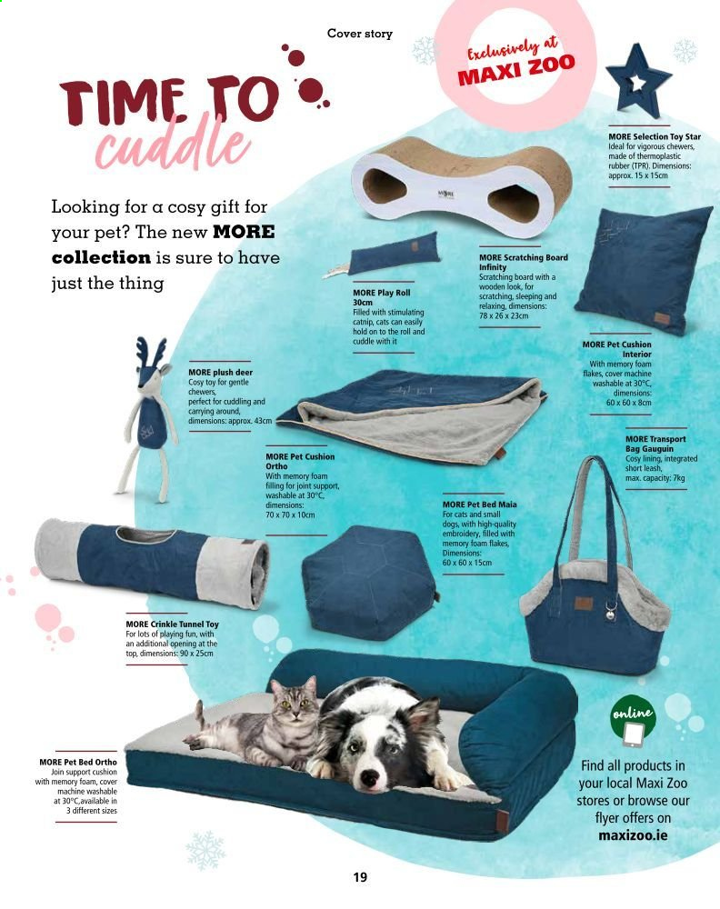 Maxi Zoo offer  - Sales products - bag, bed, cushion, deer, memory foam, pet, toys, flakes, pet beds, rubber. Page 19.