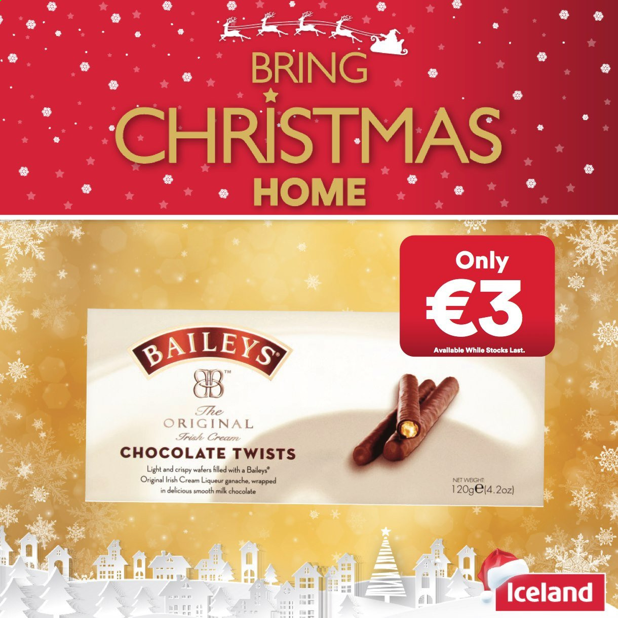 Iceland offer  - Sales products - liqueur, milk chocolate, wafers, irish cream, chocolate, Baileys. Page 3.
