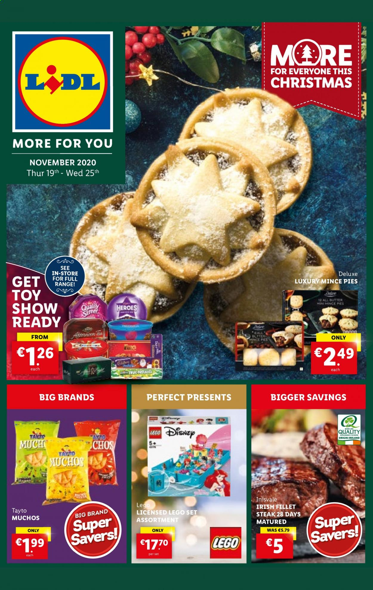 Lidl offer  - 19.11.2020 - 25.11.2020 - Sales products - disney, lego, toys, steak. Page 1.