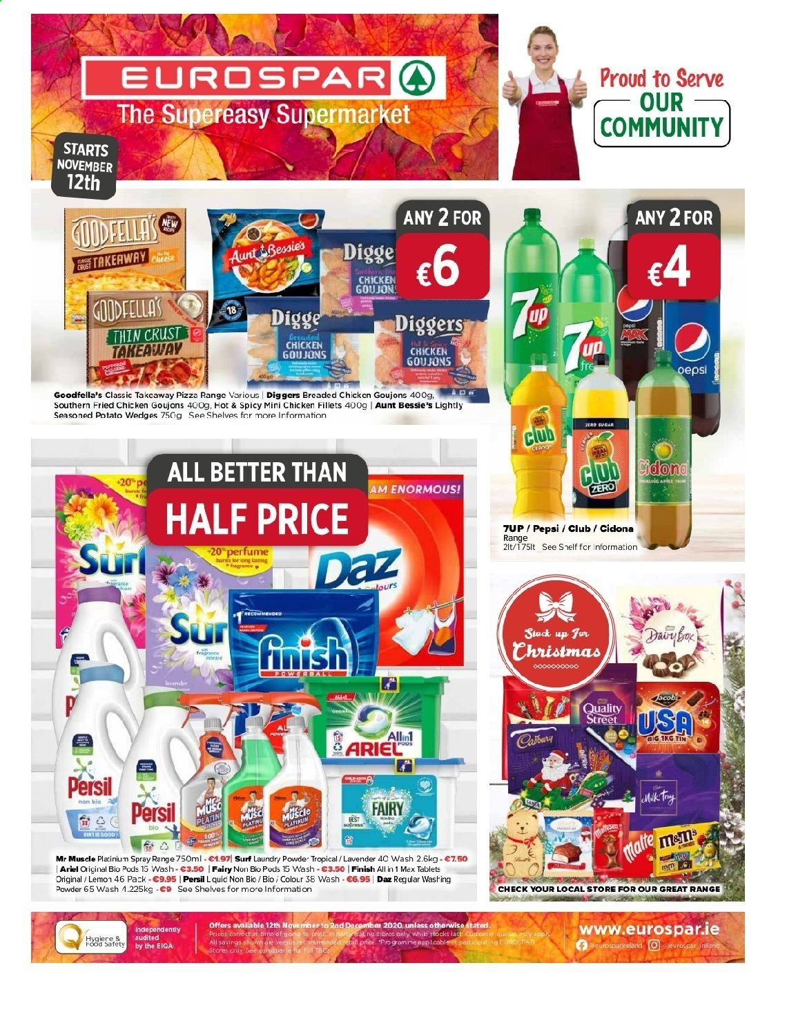 EUROSPAR offer  - 12.11.2020 - 2.12.2020 - Sales products - shelf, shelves, spray, sugar, pizza, potato wedges, powder, chicken, pepsi, persil, ariel, washing powder, tablets, fried chicken, lemon. Page 1.