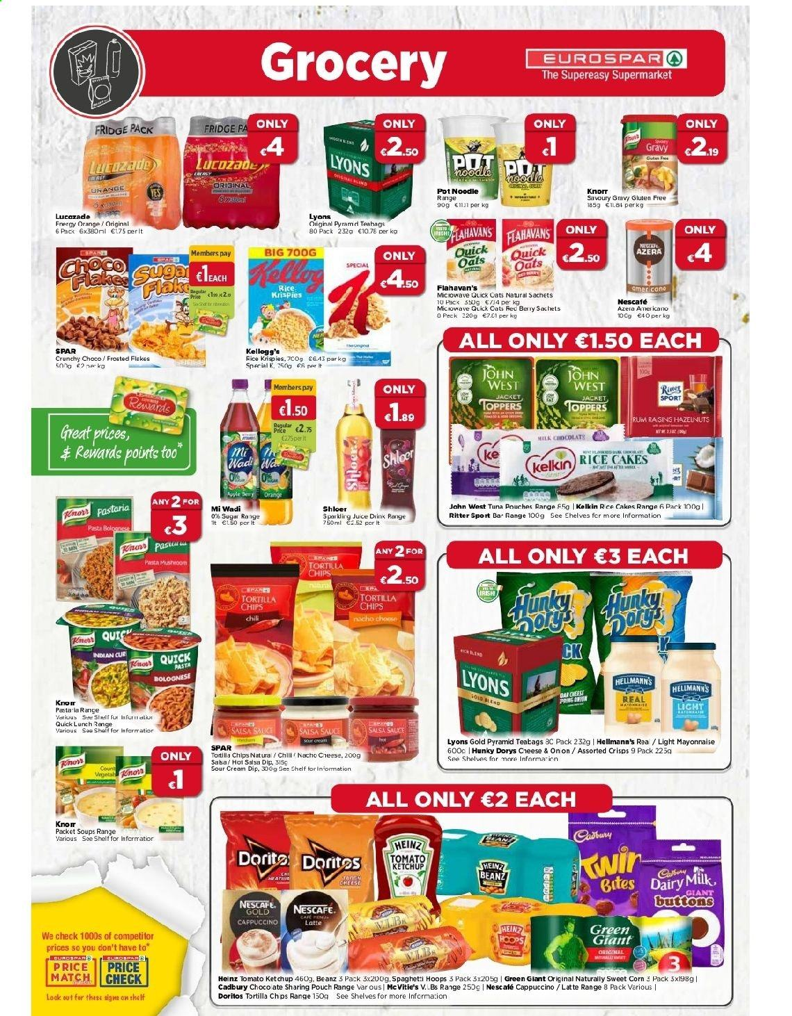 EUROSPAR offer  - 12.11.2020 - 2.12.2020 - Sales products - cappuccino, corn, cream, doritos, fa, mayonnaise, microwave, milk, refrigerator, rice, rum, shelves, sour cream, sugar, tortilla chips, tuna, heinz, jacket, ketchup, pot, quick, noodle, oats, chips, cheese, juice, salsa, pasta, berry, knorr, teabags, sweet, sauce, gluten free, nescafé, drink, orange, bites, tomato, teabag, fridge. Page 4.