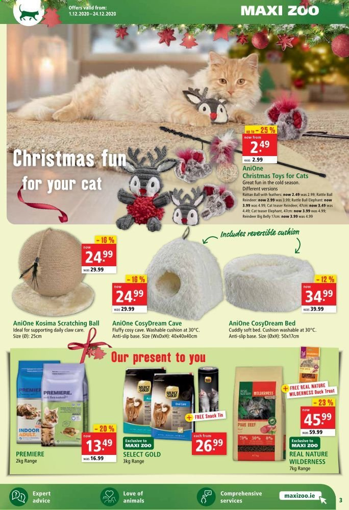 Maxi Zoo offer  - 1.12.2020 - 24.12.2020 - Sales products - bed, beef meat, cushion, rattle, reindeer, toys, snack, ball. Page 3.