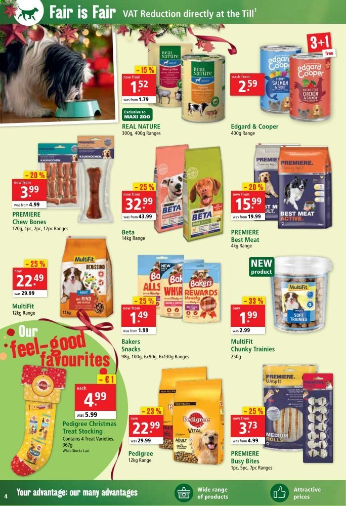 Maxi Zoo offer  - 1.12.2020 - 24.12.2020 - Sales products - salmon, chicken, snack, rolls, meat. Page 4.