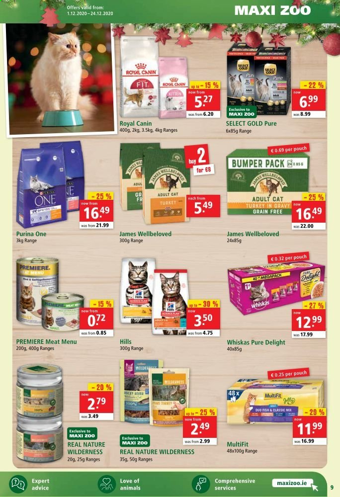 Maxi Zoo offer  - 1.12.2020 - 24.12.2020 - Sales products - royal canin, turkey, hat, Purina, Whiskas, Meat, fish. Page 9.