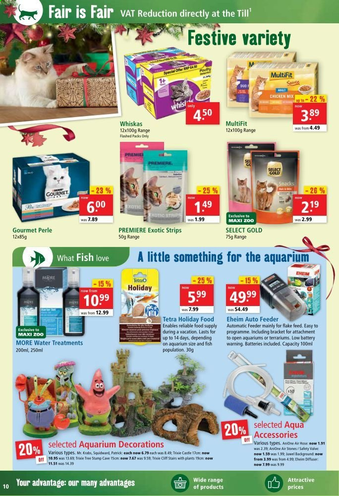 Maxi Zoo offer  - 1.12.2020 - 24.12.2020 - Sales products - battery, diffuser, chicken, snack, feeder, Whiskas, sauce, hose, fish. Page 10.