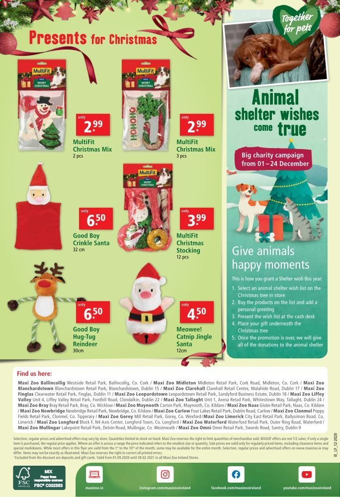 Maxi Zoo offer  - 1.12.2020 - 24.12.2020 - Sales products - elf, reindeer, ring, christmas tree, pet, paper. Page 12.