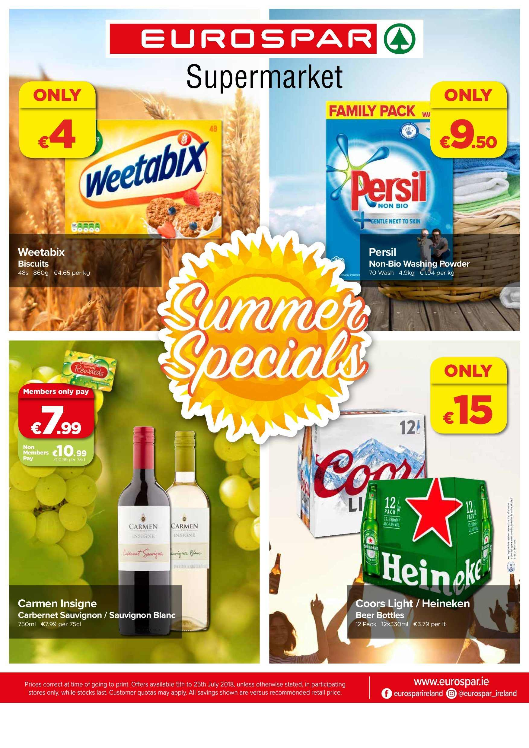 EUROSPAR offer  - 5.7.2018 - 25.7.2018 - Sales products - beer, biscuits, powder, persil, family pack, washing powder. Page 1.