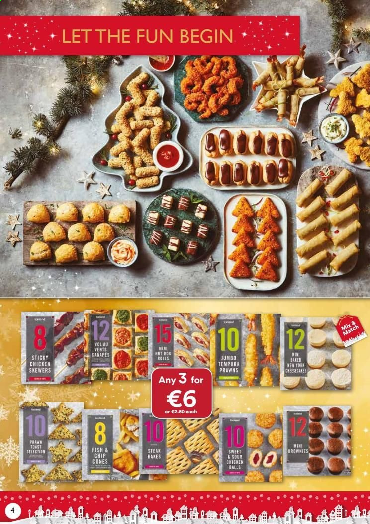 Iceland offer  - Sales products - hot dog, chicken, steak, prawn, rolls, fish. Page 4.
