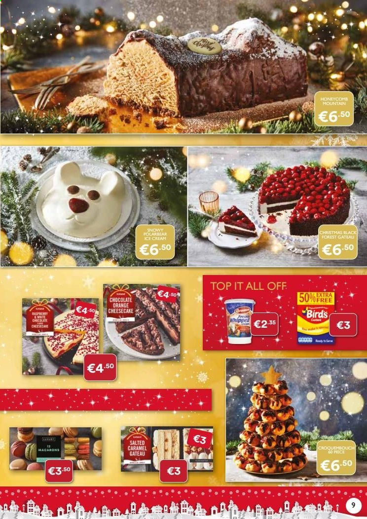 Iceland offer  - Sales products - caramel, ice cream, chocolate, cheesecake, orange. Page 9.