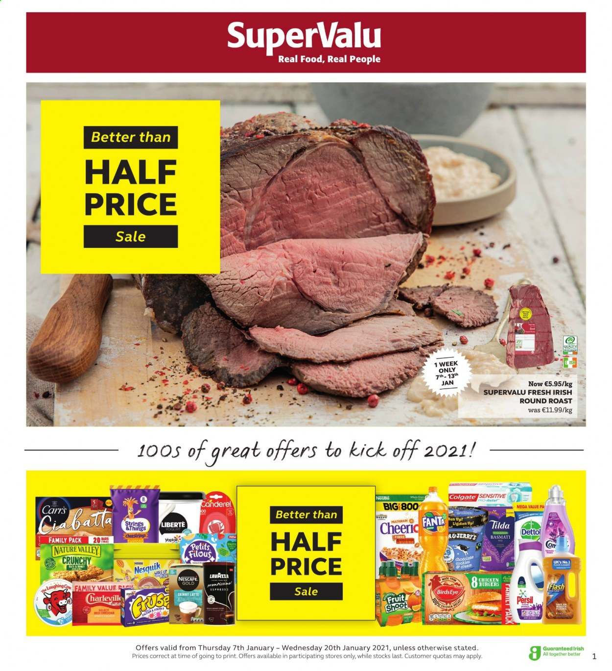 SuperValu offer  - 7.1.2021 - 20.1.2021 - Sales products - hamburger, Bird's Eye, cheddar, The Laughing Cow, yoghurt, Petits Filous, Nestlé, chocolate, Nesquik, Canderel, Nature Valley, basmati rice, Fanta, Nescafé, Lavazza, chicken, round roast, Dettol, cleaner, Persil, Colgate. Page 1.