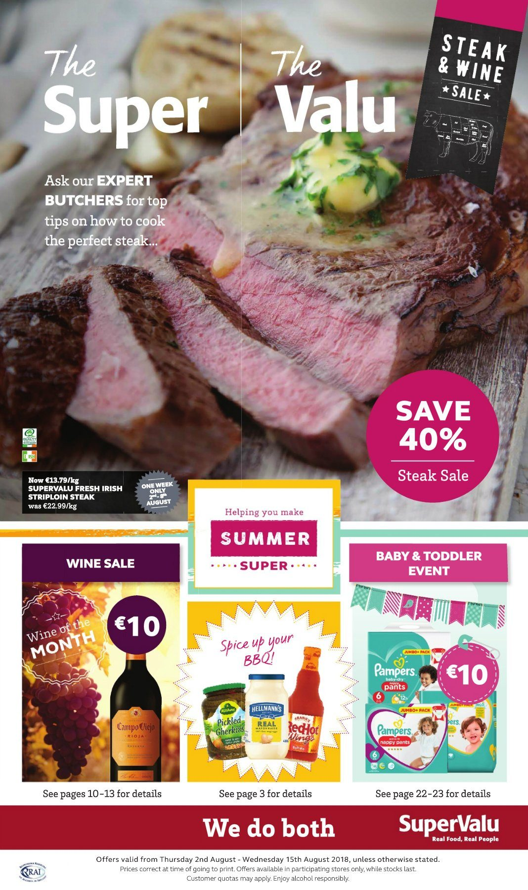 SuperValu offer  - 2.8.2018 - 15.8.2018 - Sales products - pampers, pants, steak, wine. Page 1.
