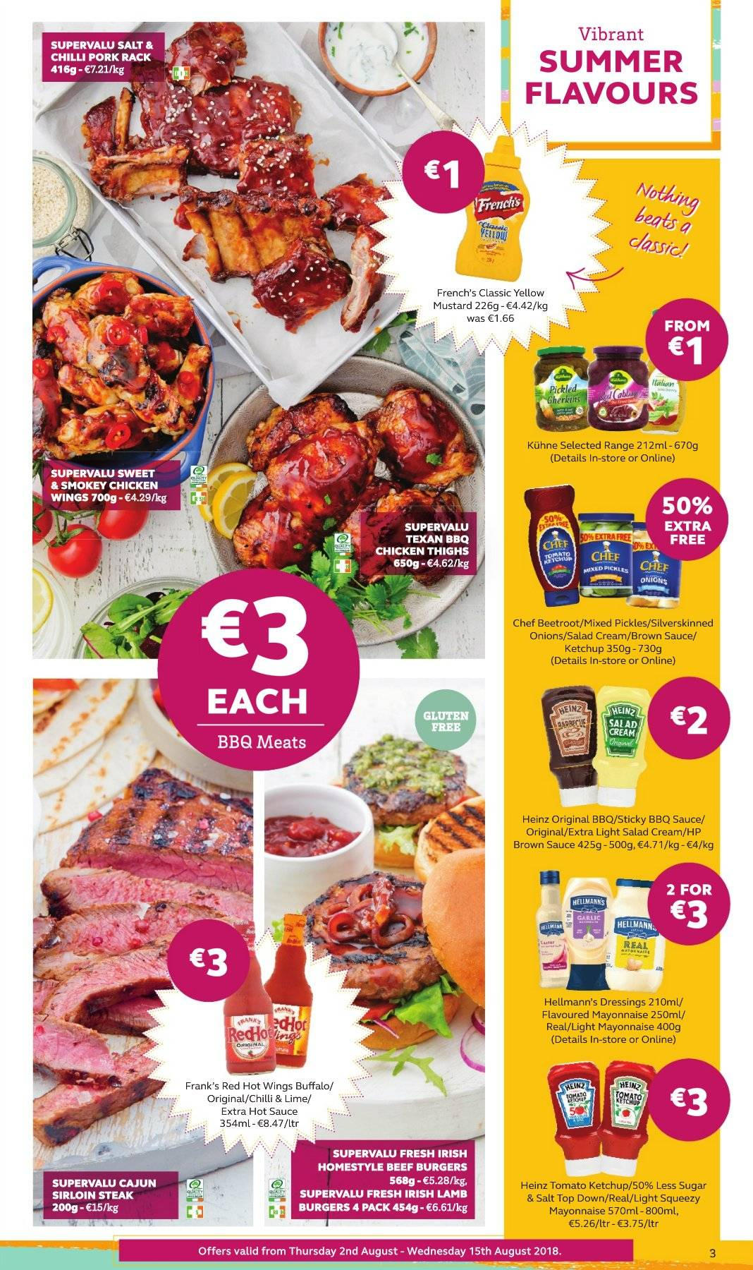 SuperValu offer  - 2.8.2018 - 15.8.2018 - Sales products - onion, pickles, beetroot juice, hamburger, sauce, beef burger, salad cream, Hellmann's, chicken wings, Heinz, barbecue sauce, mustard, ketchup, brown sauce, chicken, chicken thighs, beef sirloin, steak, sirloin steak, lamb meat, lamb sirloin. Page 3.