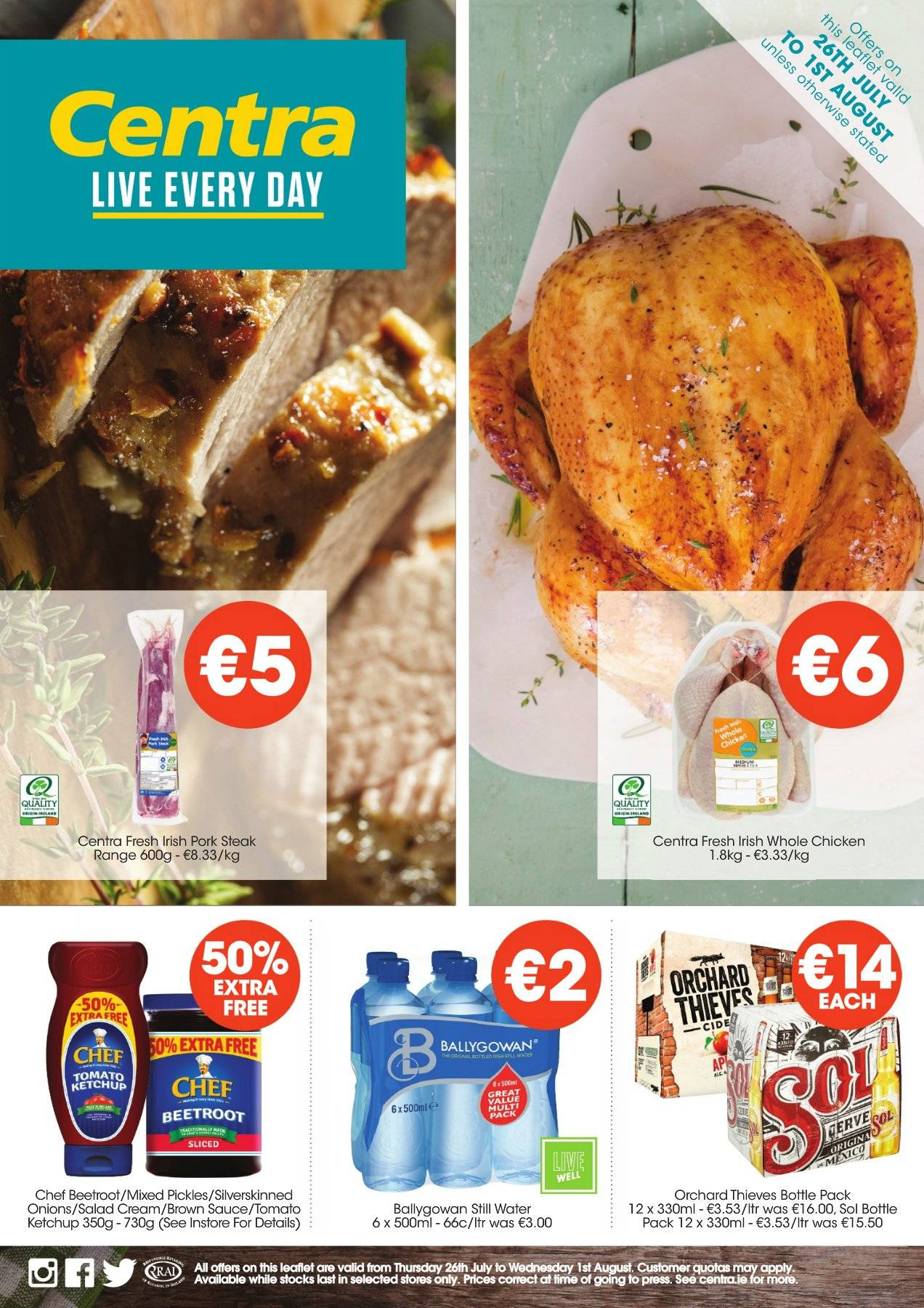 Centra offer  - 26.7.2018 - 1.8.2018 - Sales products - bottle, cream, whole chicken, ketchup, pickles, pork meat, chicken, onion, brown sauce, steak, salad, sauce. Page 1.