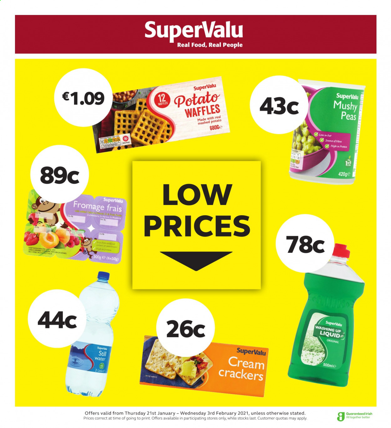 SuperValu offer  - 21.1.2021 - 3.2.2021 - Sales products - waffles, peas, crackers, dishwashing liquid. Page 1.