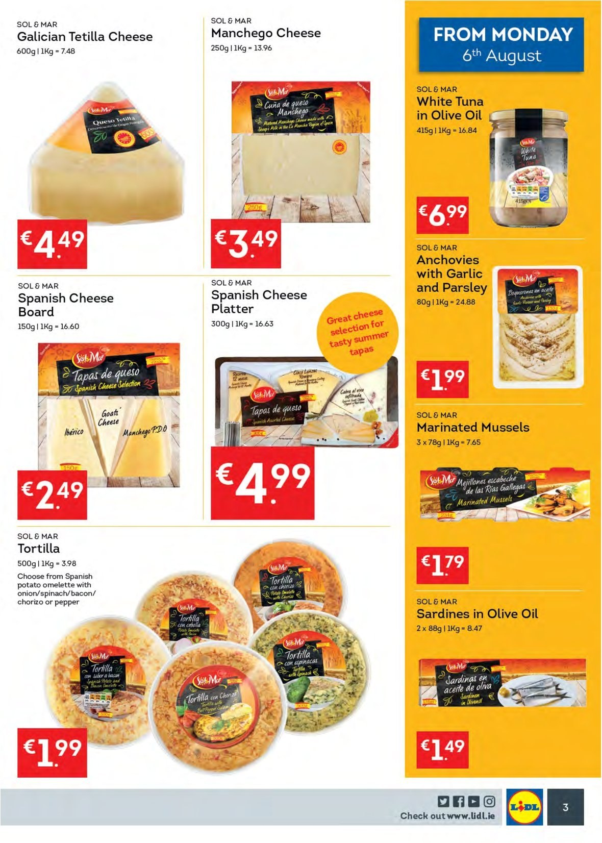 Lidl offer  - 6.8.2018 - 12.8.2018 - Sales products - tortillas, spinach, onion, mussel, sardines, tuna, bacon, chorizo, manchego, cheese, anchovies, parsley, olive oil, Sol, platter. Page 3.