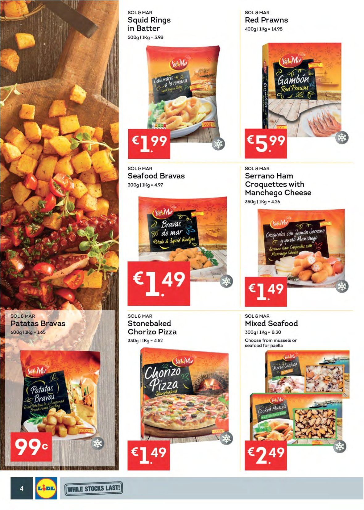 Lidl offer  - 6.8.2018 - 12.8.2018 - Sales products - mussel, squid, seafood, prawns, squid rings, pizza, ham, chorizo, manchego, cheese, batter, paella, potato croquettes, Sol. Page 4.