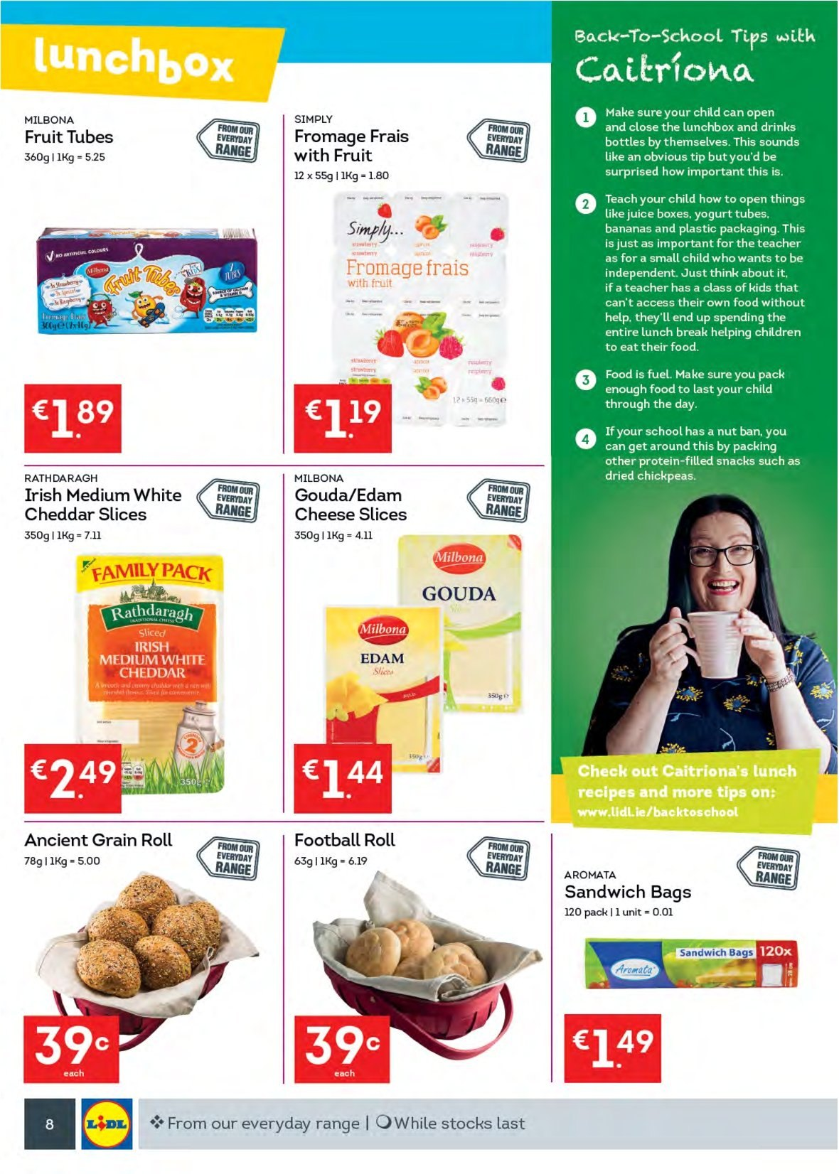 Lidl offer  - 13.8.2018 - 19.8.2018 - Sales products - bananas, sandwich, edam cheese, gouda, sliced cheese, cheddar, cheese, yoghurt, snack, chickpeas, juice, lunch box, bag. Page 8.
