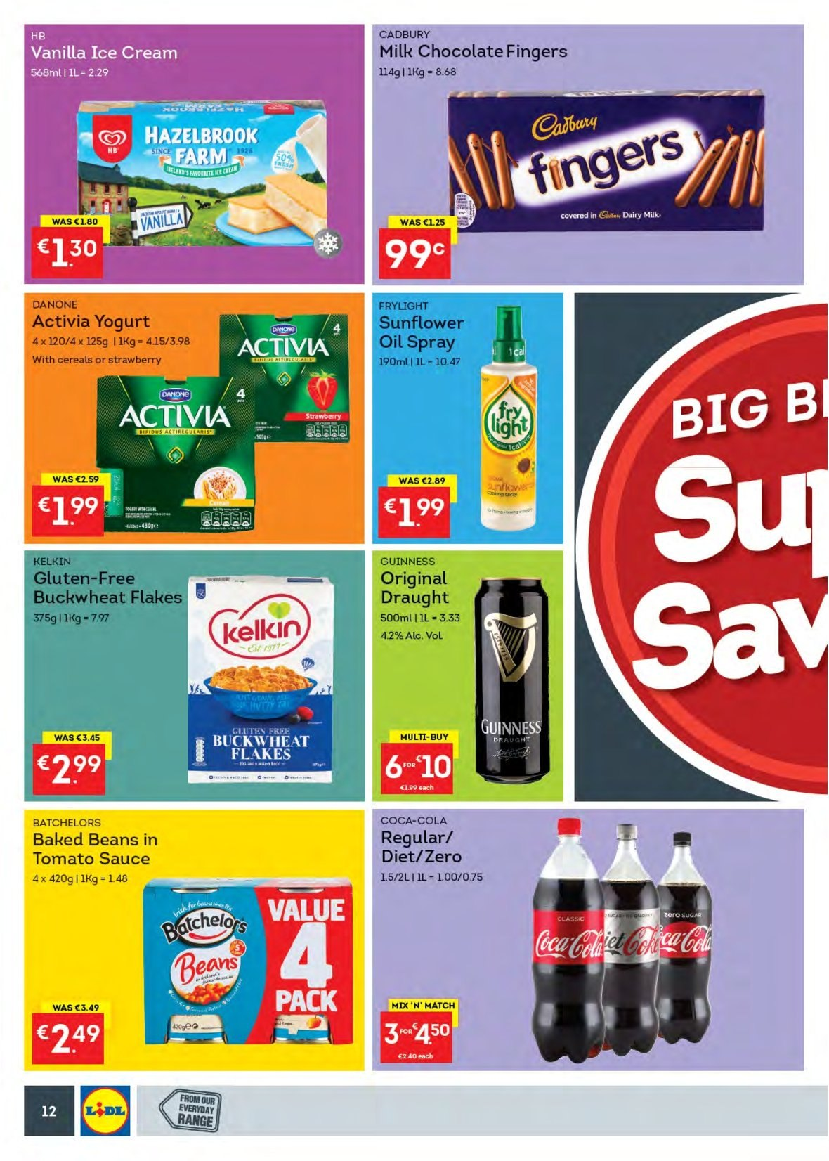 Lidl offer  - 13.8.2018 - 19.8.2018 - Sales products - beans, yoghurt, Danone, Activia, ice cream, milk chocolate, chocolate, Cadbury, Dairy Milk, baked beans, buckwheat, cereals, sunflower oil, Coca-Cola, Guinness. Page 12.