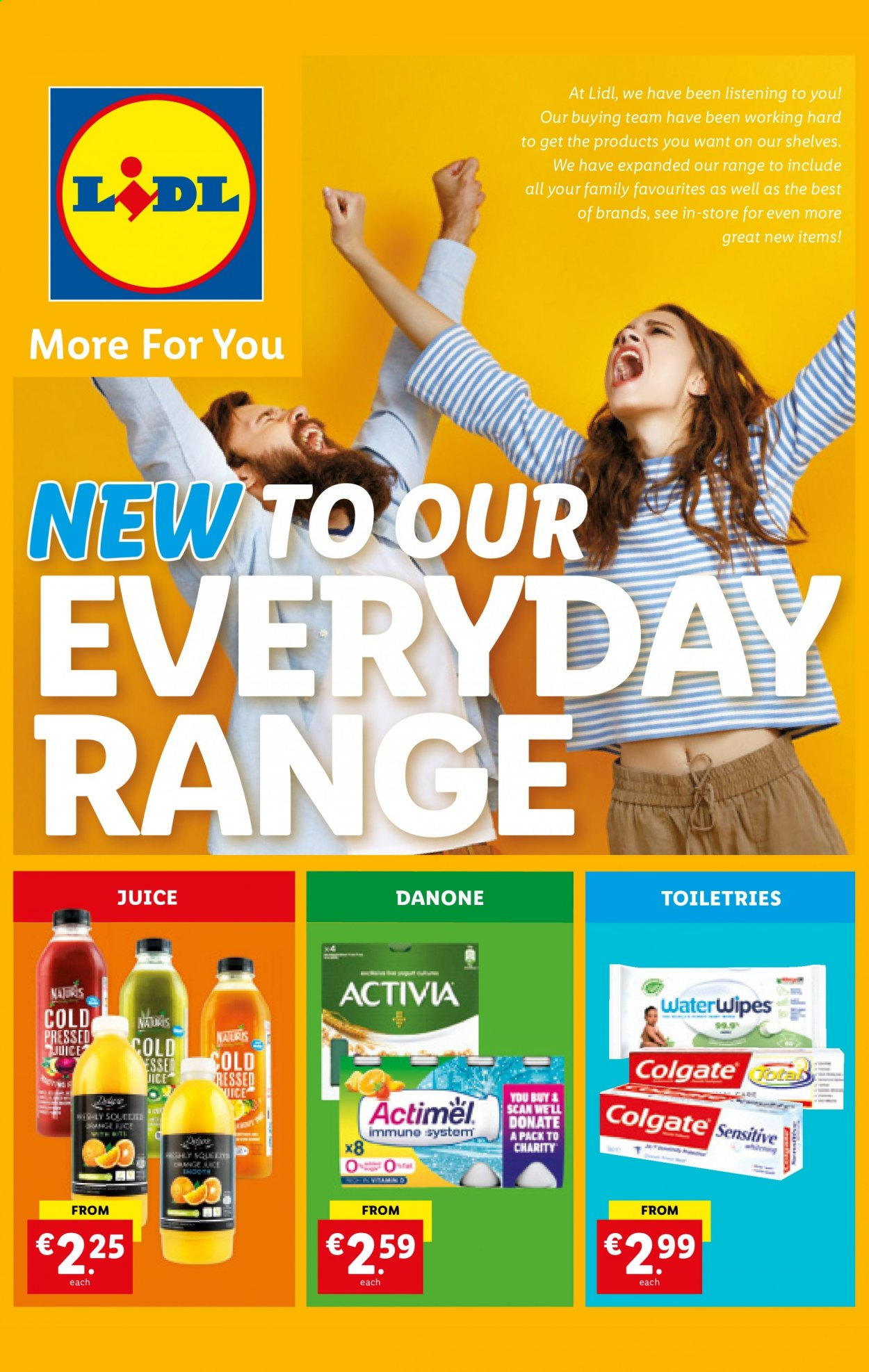 Lidl offer  - 25.2.2021 - 3.3.2021 - Sales products - Danone, Actimel, juice, Colgate, shelves. Page 1.