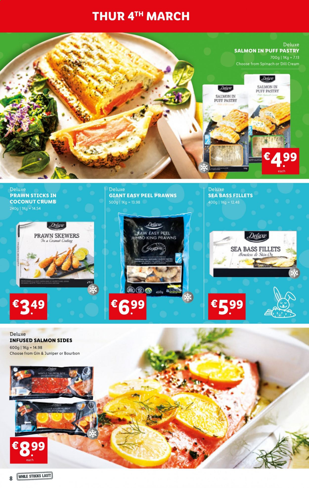 Lidl offer  - 4.3.2021 - 10.3.2021 - Sales products - coconut, salmon, sea bass, prawns, puff pastry, dill, bourbon, gin. Page 8.