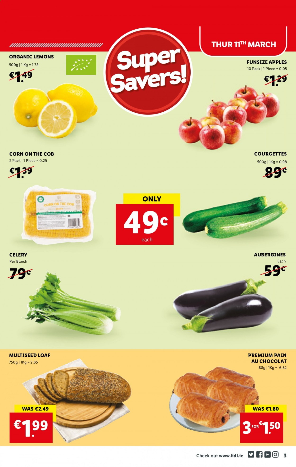 Lidl offer  - 11.3.2021 - 17.3.2021 - Sales products - corn, celery, apples, lemons. Page 3.