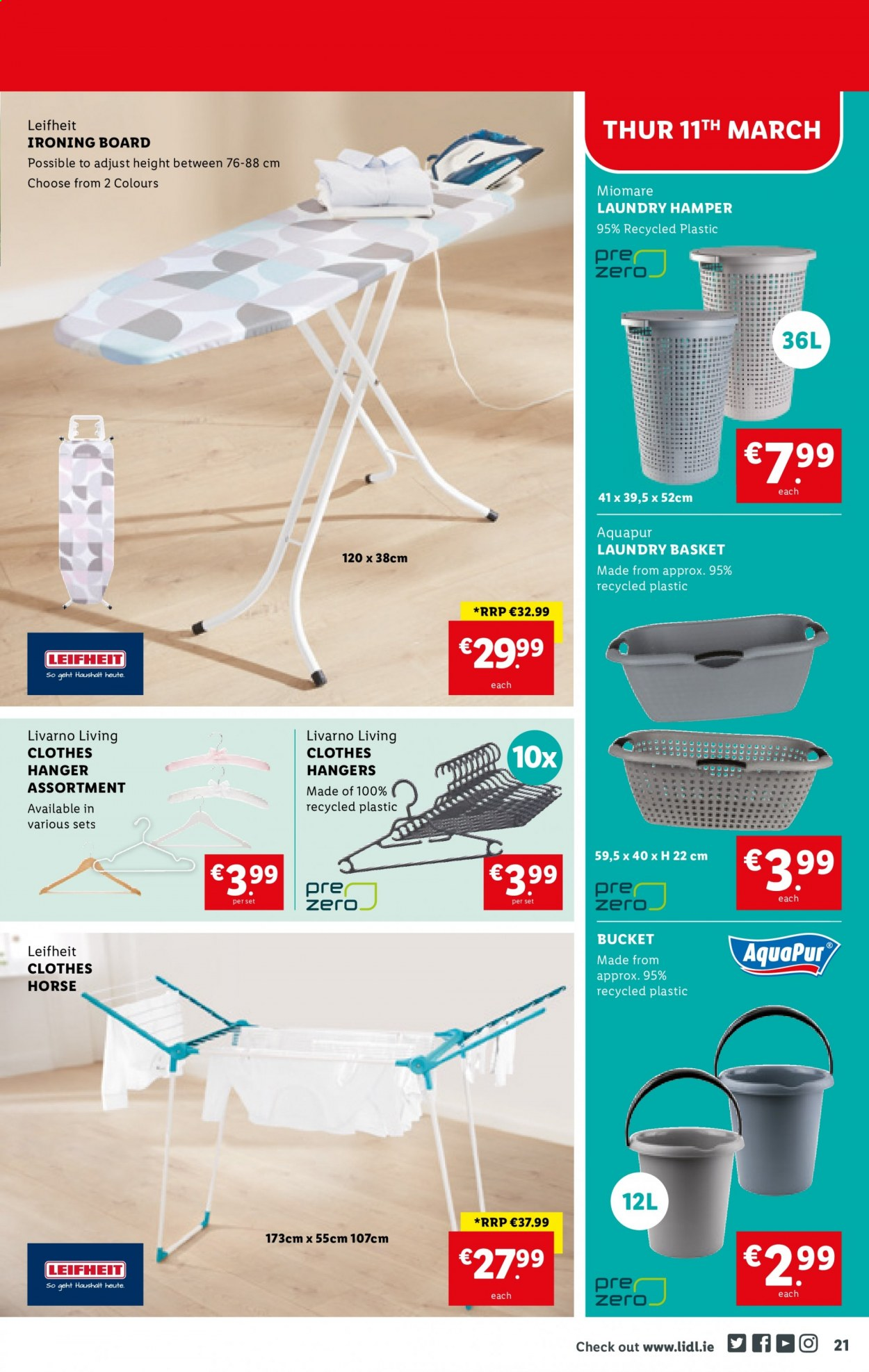 Lidl offer  - 11.3.2021 - 17.3.2021 - Sales products - hamper, basket, hanger, ironing board, bucket, clothes. Page 21.