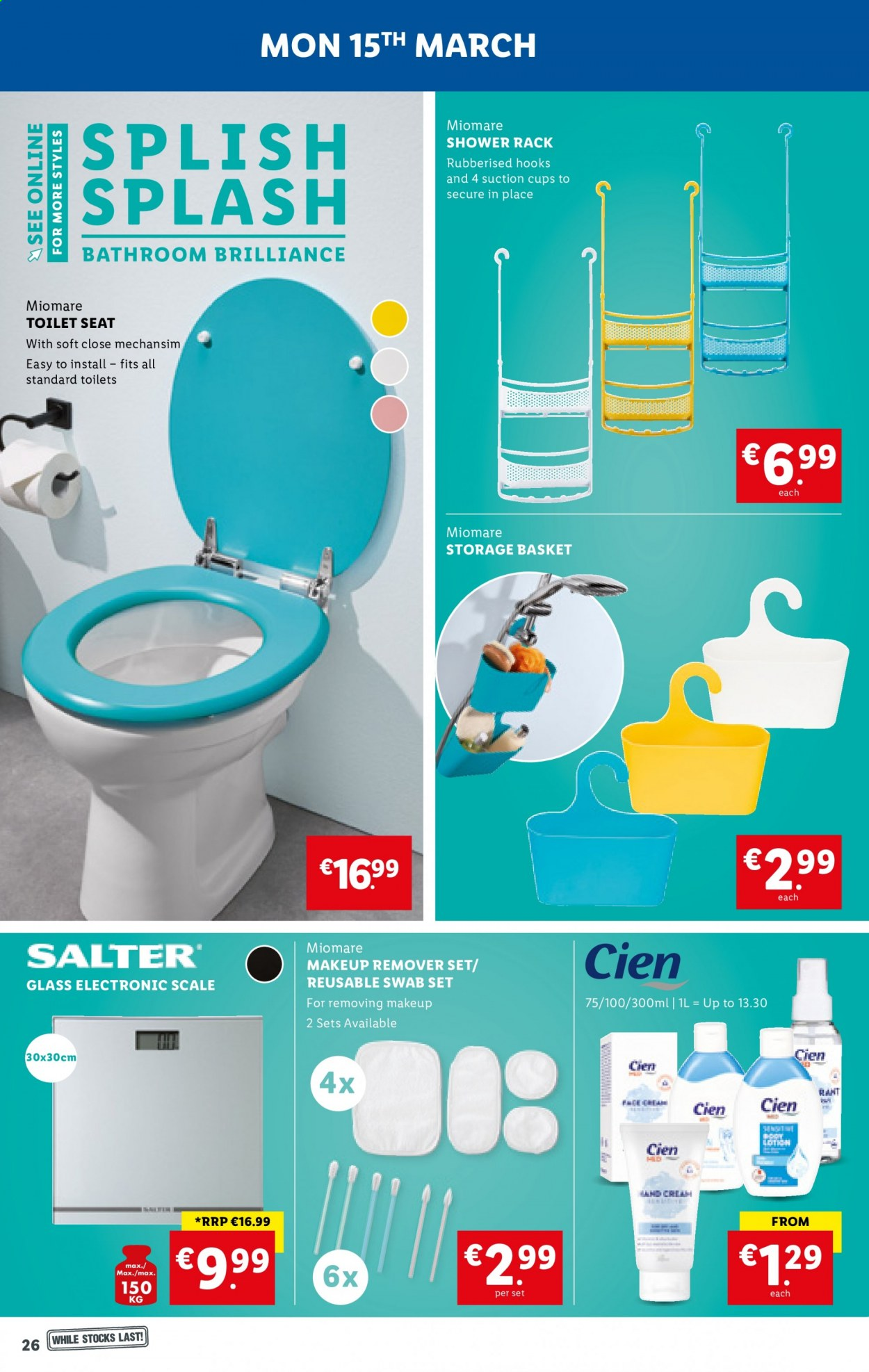 Lidl offer  - 11.3.2021 - 17.3.2021 - Sales products - scale, body lotion, basket, hook, storage basket, suction cups, cup, ruler, toilet. Page 26.