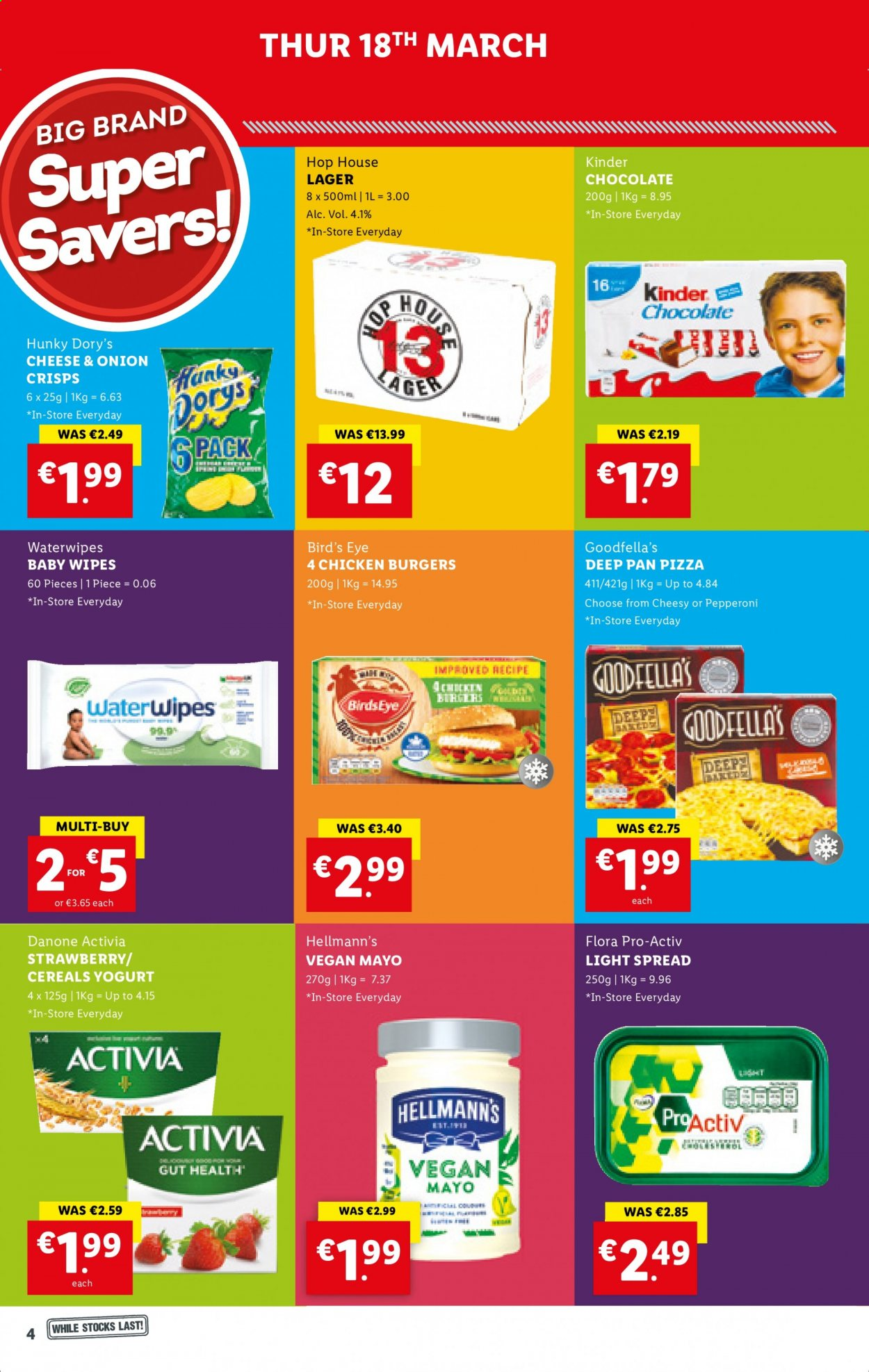 Lidl offer  - 18.3.2021 - 24.3.2021 - Sales products - pizza, hamburger, Bird's Eye, pepperoni, yoghurt, Danone, Activia, Flora, mayonnaise, Hellmann's, chocolate, cereals, beer, Lager, baby wipes, wipes, pan. Page 4.
