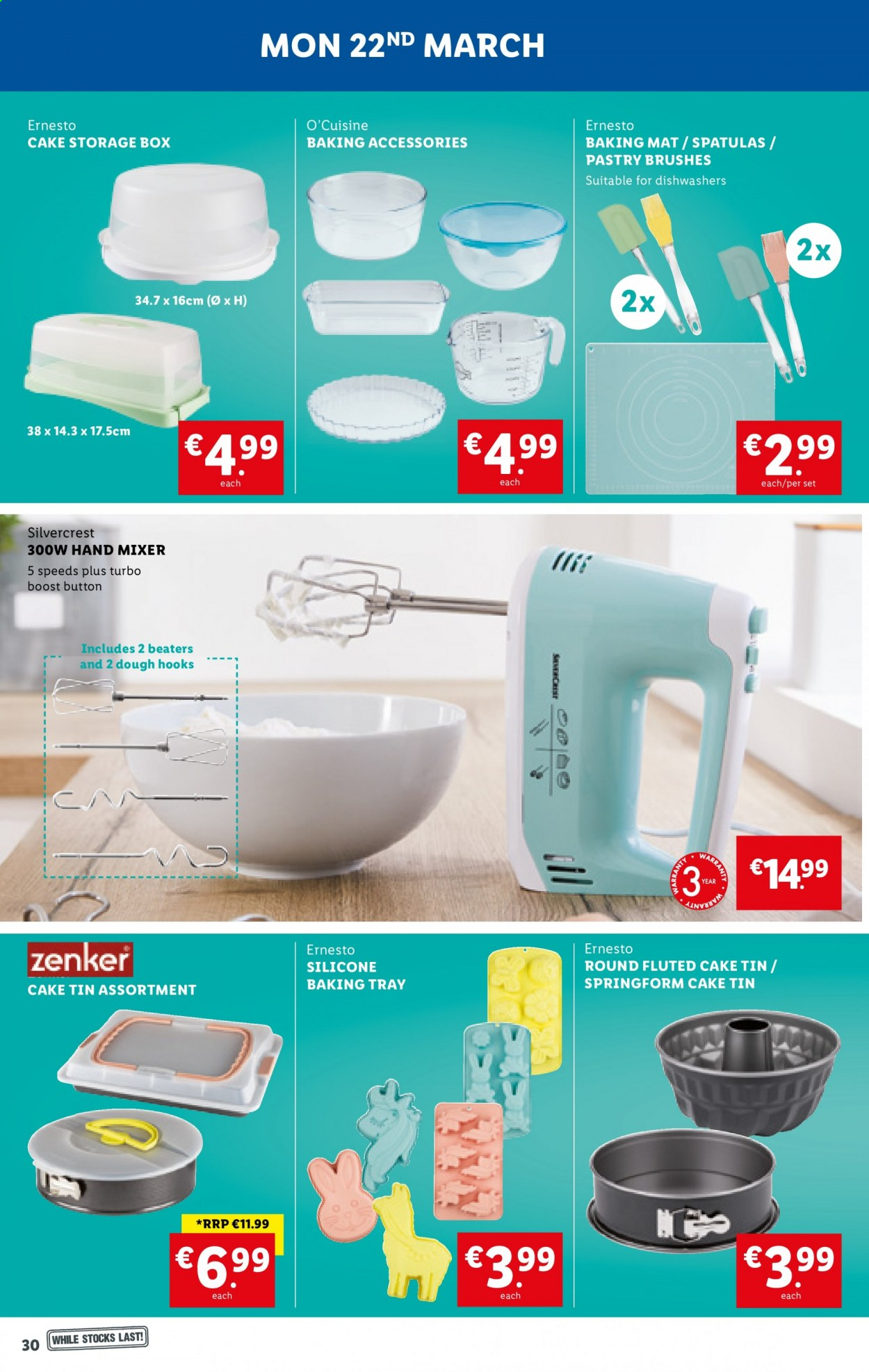 Lidl offer  - 18.3.2021 - 24.3.2021 - Sales products - SilverCrest, cake, Boost, hook, Ernesto, spatula, baking accessories, baking tray, storage box, mixer, hand mixer. Page 30.