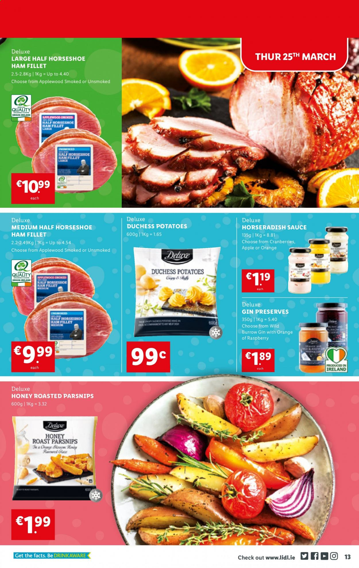Lidl offer  - 25.3.2021 - 31.3.2021 - Sales products - horseradish, potatoes, parsnips, orange, sauce, ham, cranberries, honey, gin. Page 13.
