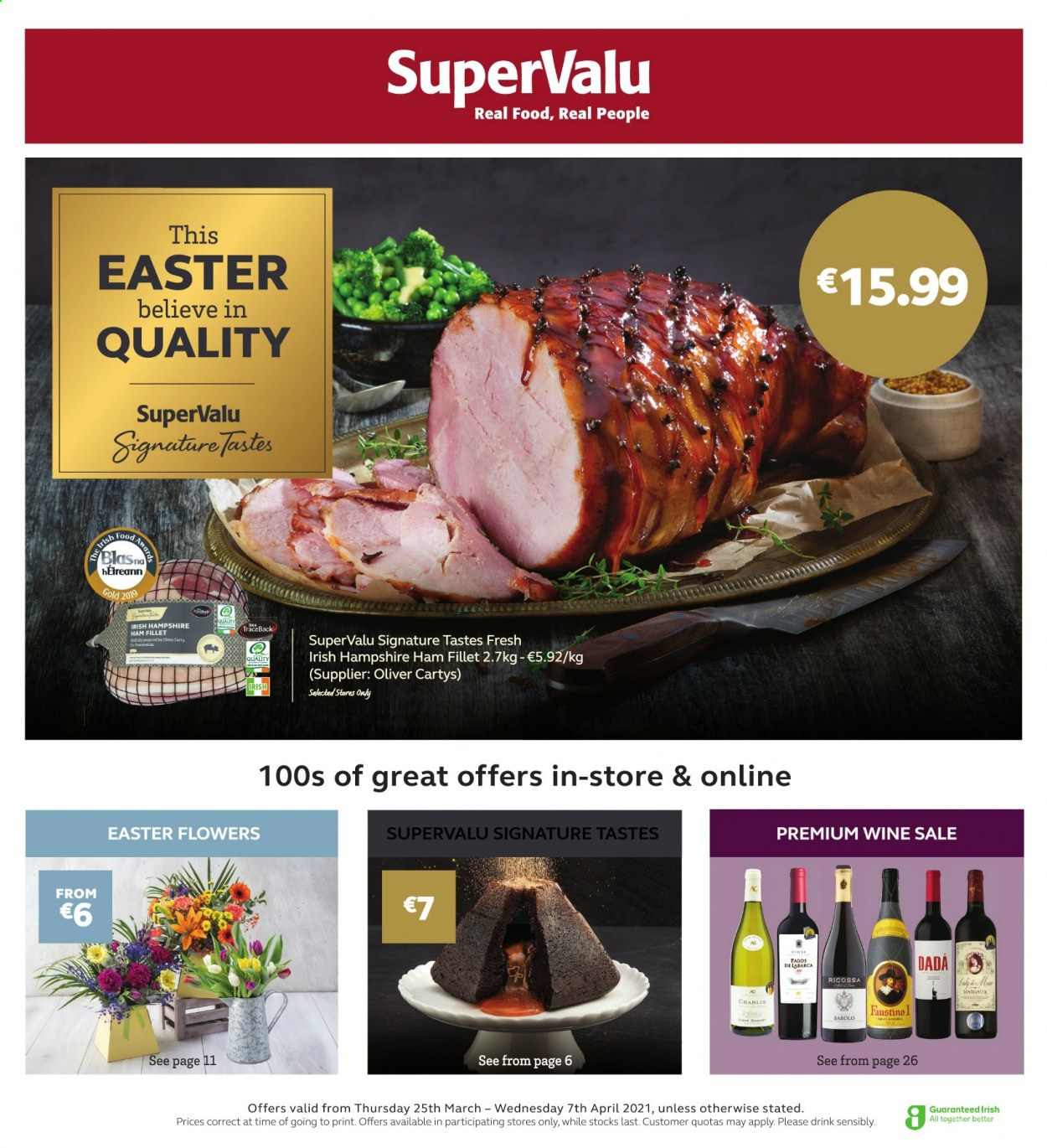 SuperValu offer  - 25.3.2021 - 7.4.2021 - Sales products - ham, wine. Page 1.