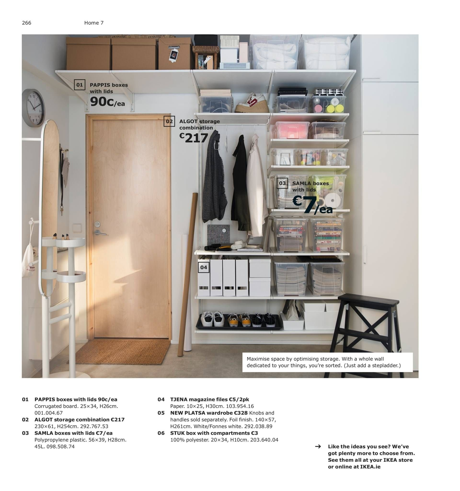 IKEA offer  - 13.8.2018 - 31.7.2019 - Sales products - box, boxes with lids, knob, stepladder, storage, wardrobe, handles, paper, board. Page 266.