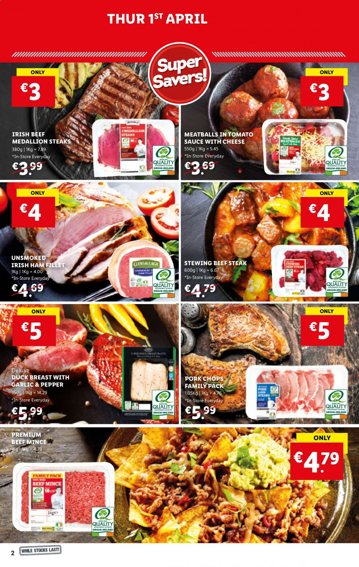 Lidl offer  - 1.4.2021 - 7.4.2021 - Sales products - meatballs, sauce, ham, cheese, duck, duck breasts, beef meat, beef steak, ground beef, steak, stewing beef, pork chops, pork meat, duck meat. Page 2.