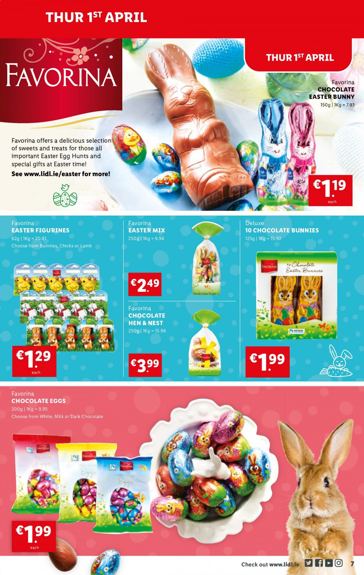Lidl offer  - 1.4.2021 - 7.4.2021 - Sales products - milk, chocolate, chocolate eggs. Page 7.