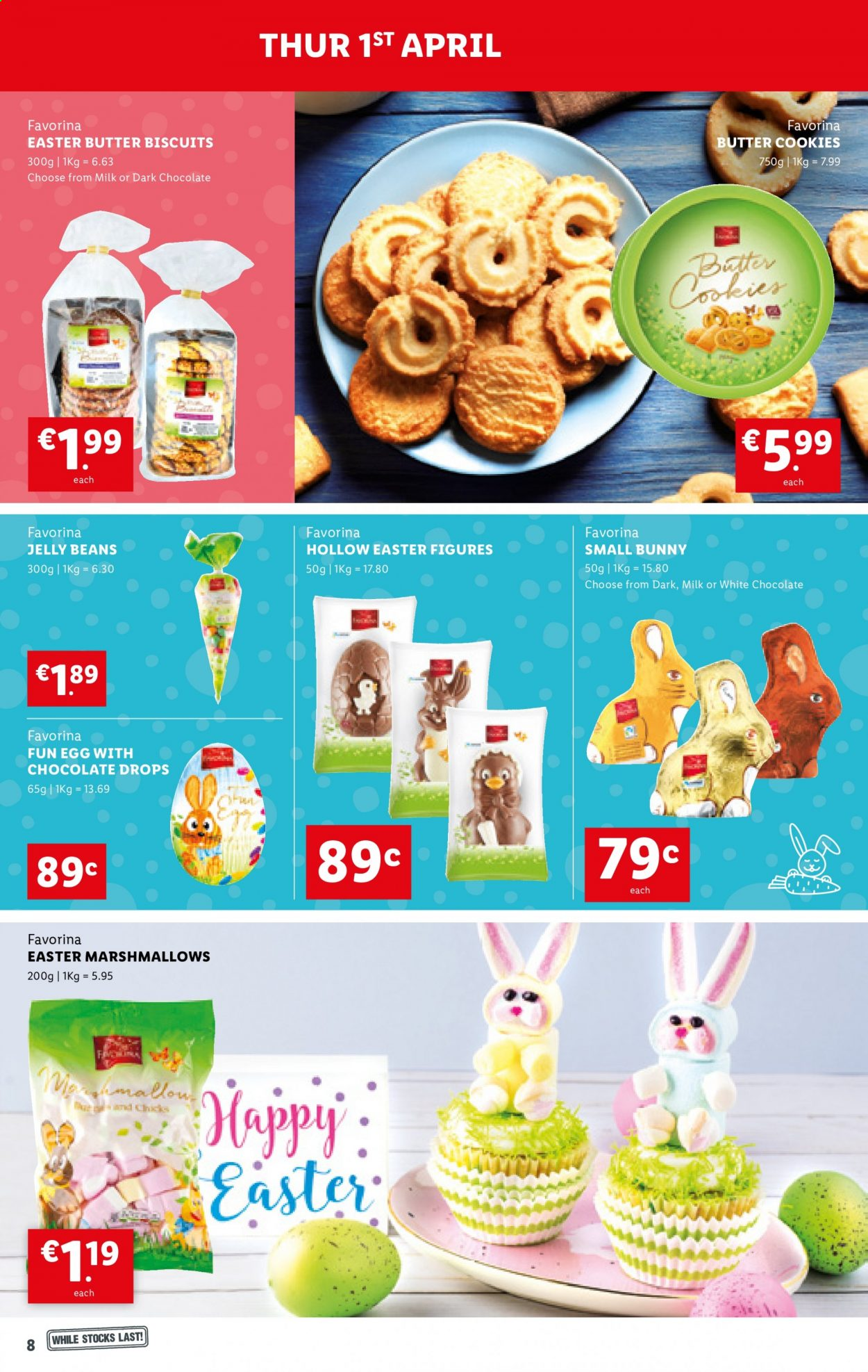 Lidl offer  - 1.4.2021 - 7.4.2021 - Sales products - milk, eggs, cookies, marshmallows, white chocolate, chocolate, butter cookies, biscuit, jelly beans. Page 8.